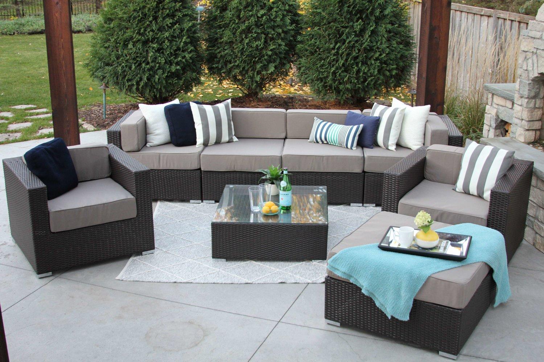 Piece Wicker Patio Sofa Sectional