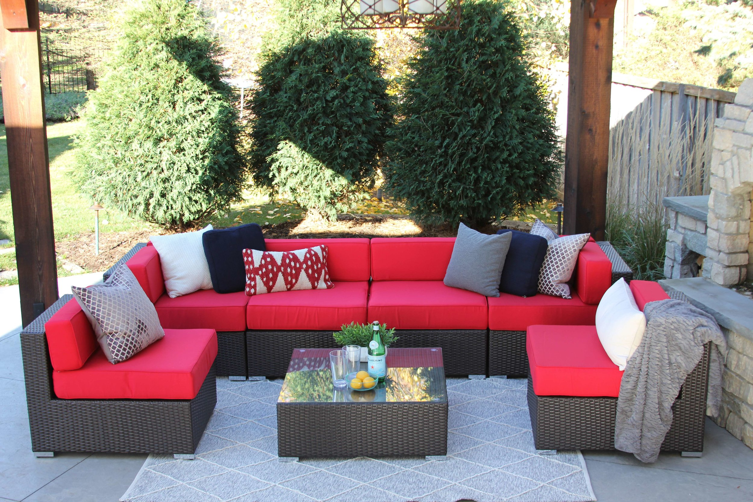 Damen 7 Piece Wicker Sectional Sofa Set