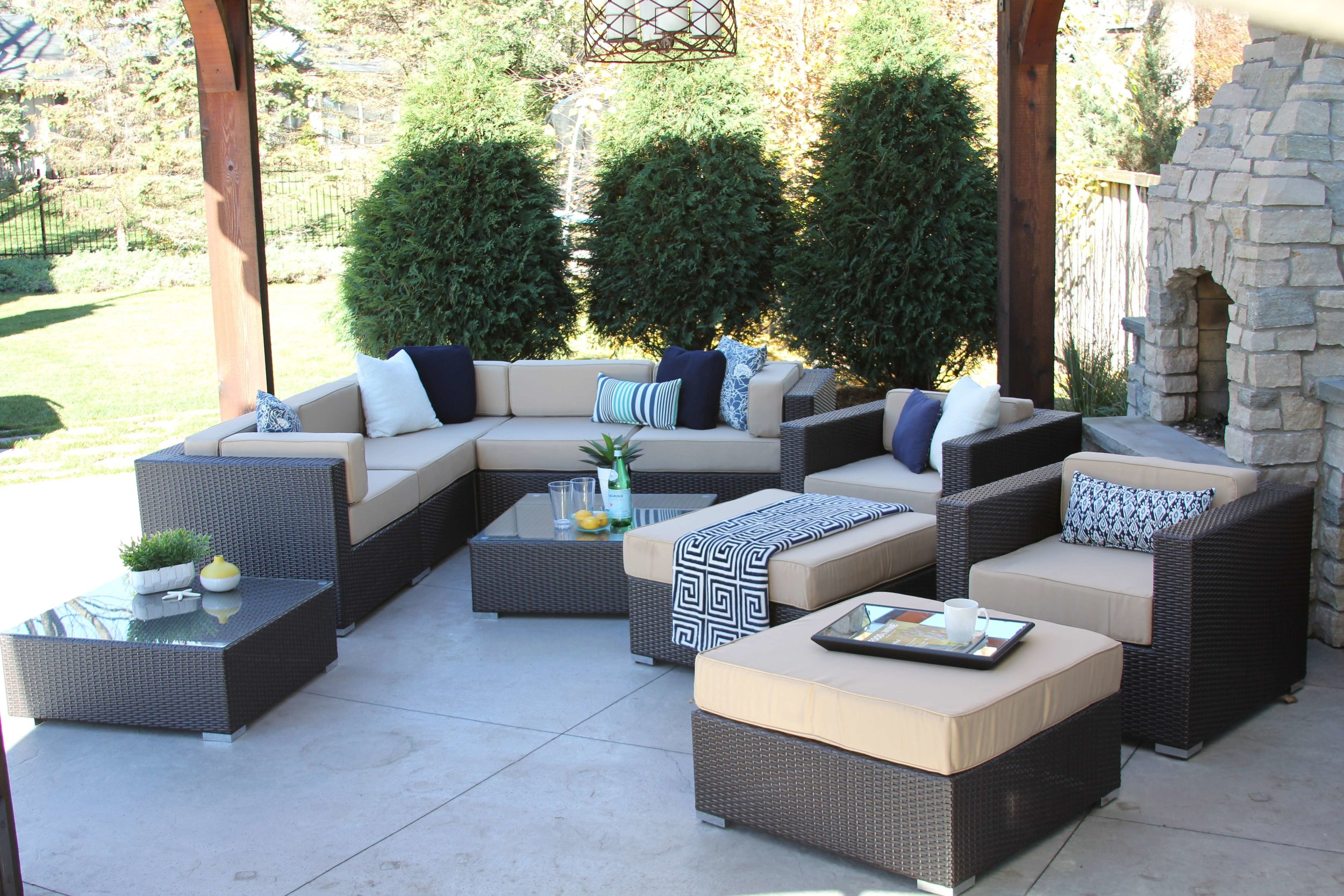 Victor 11 Piece Wicker Sofa Sectional With Two Club Chairs, Two Ottomans, and Two Coffee Tables
