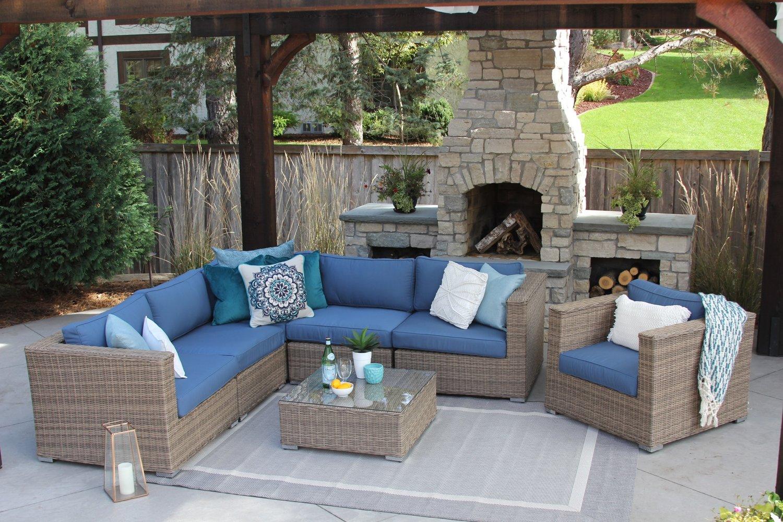 7 Piece Wicker Patio Sofa Sectional