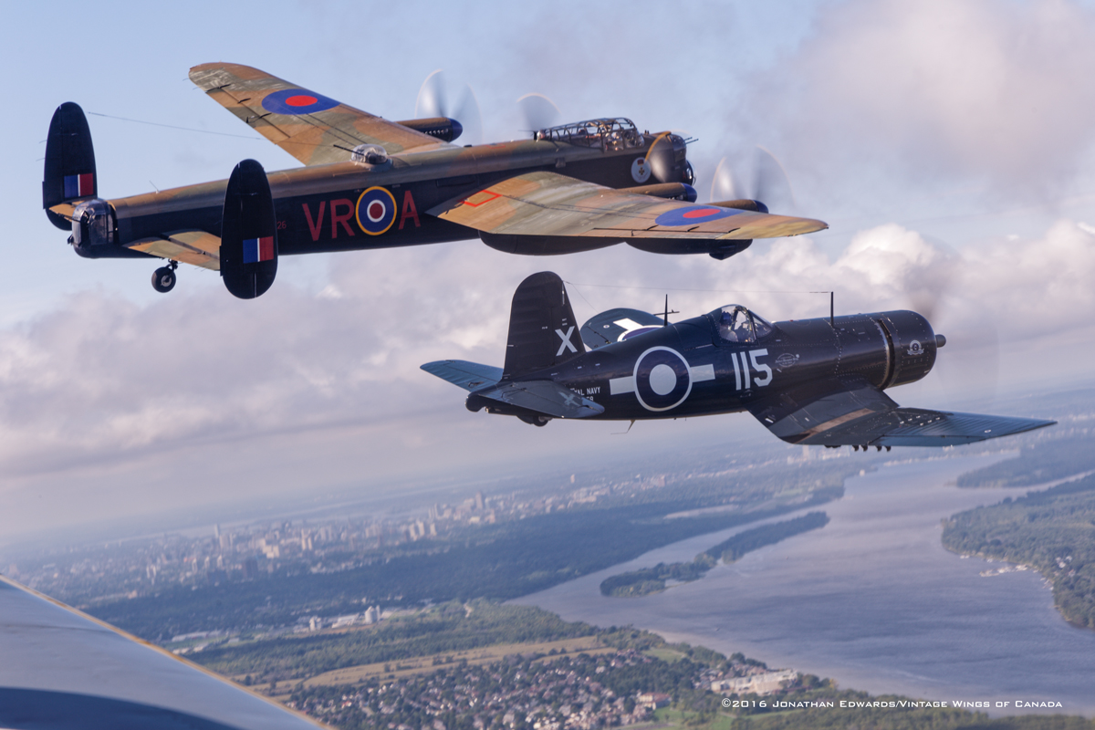 Lancaster and Corsair over Ottawa