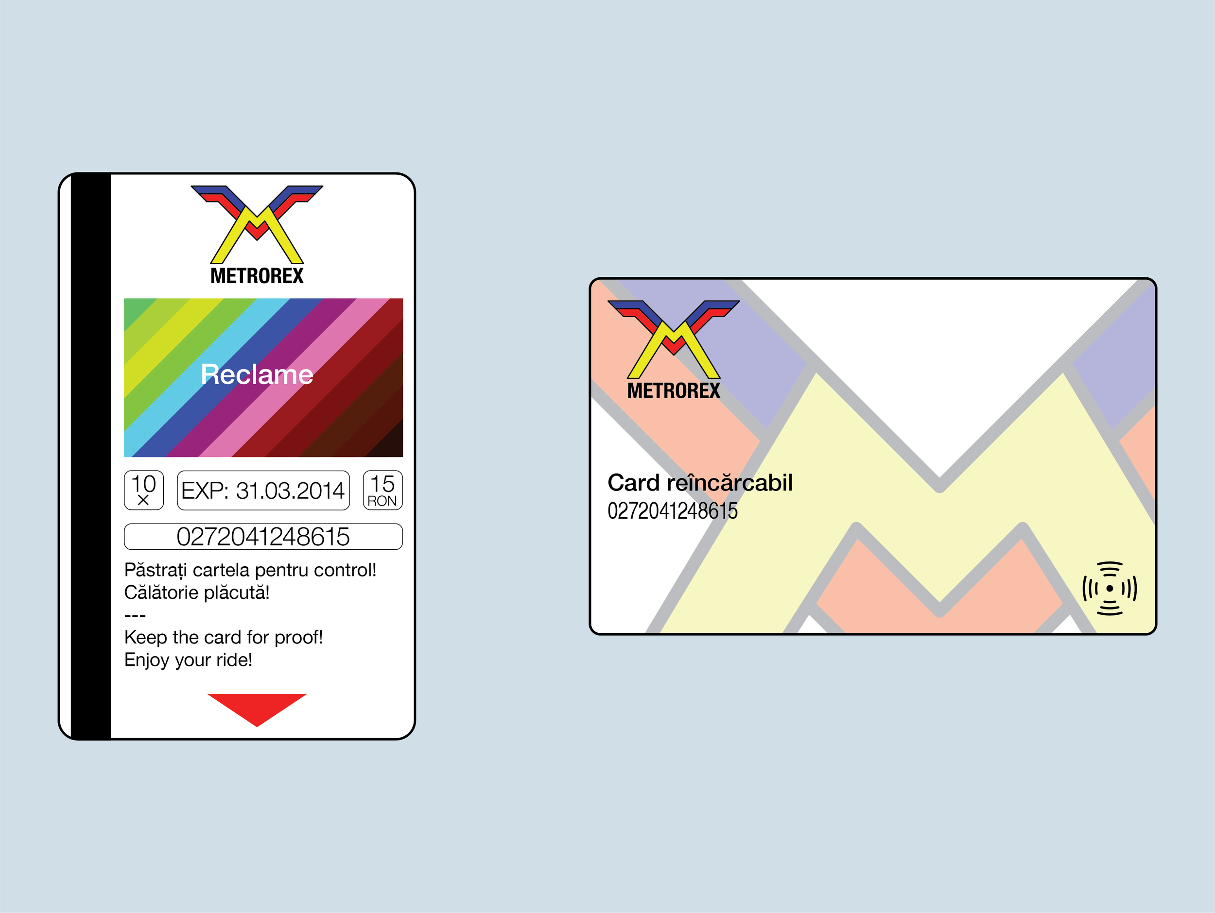The new design of the magnetic card (left) and the contactless card (right)