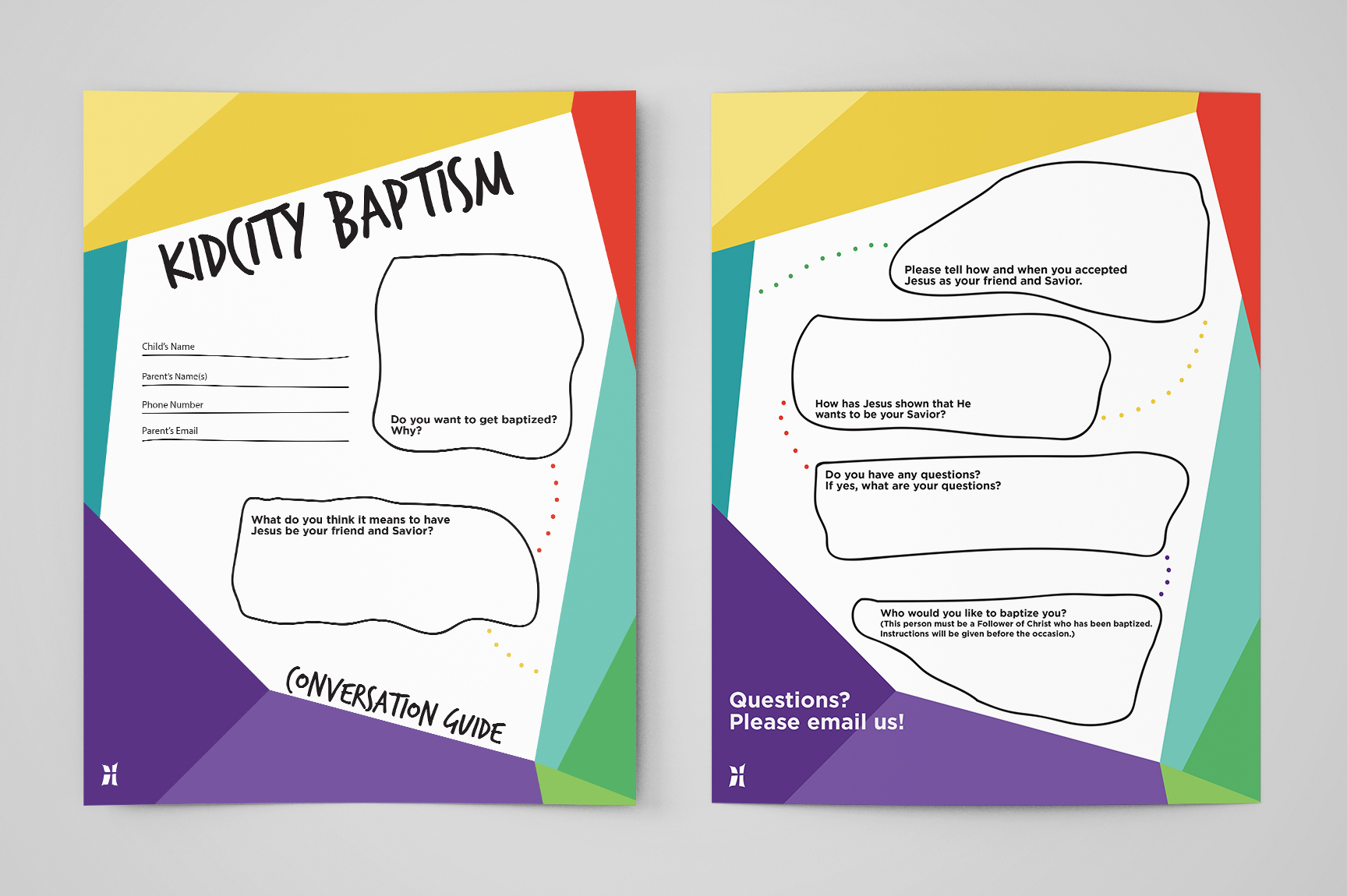 Our Kids ministry, KidCity, wanted a handout they could use with their kids who were interested in being baptized. This handout is used by KidCity staff and leaders to guide kids through a series of questions to help them understand what baptism means and to make sure they better understand their decision.  Since this resource is geared towards elementary age kids, I wanted it to be fun and engaging and have a hand-drawn doodle type of feel and provide the kids with a type of map they could follow from one question to another.
