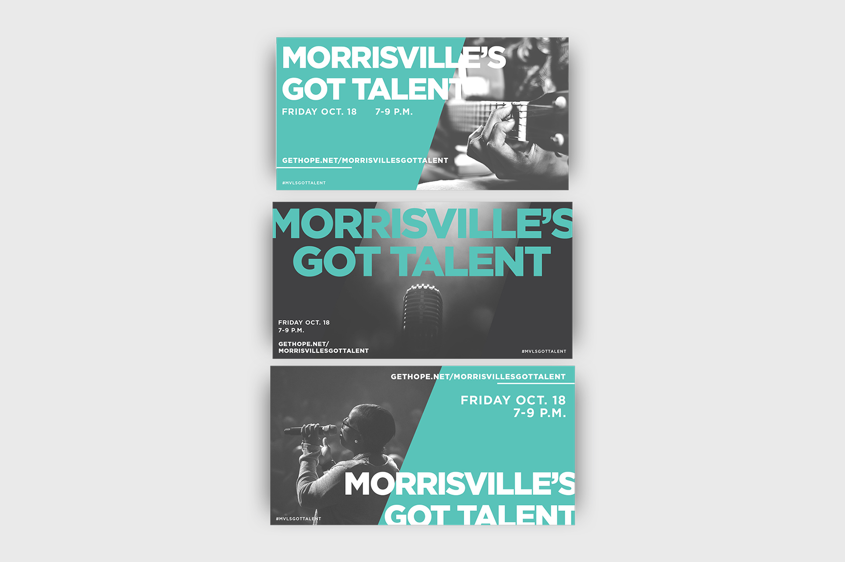 Social graphics created for our Morrisville campus' event called Morrisville's Got Talent. I love creating broken grid style designs and collage style designs for Instagram (top design). These were a lot of fun to create. I especially love the bold  type and the color palette.