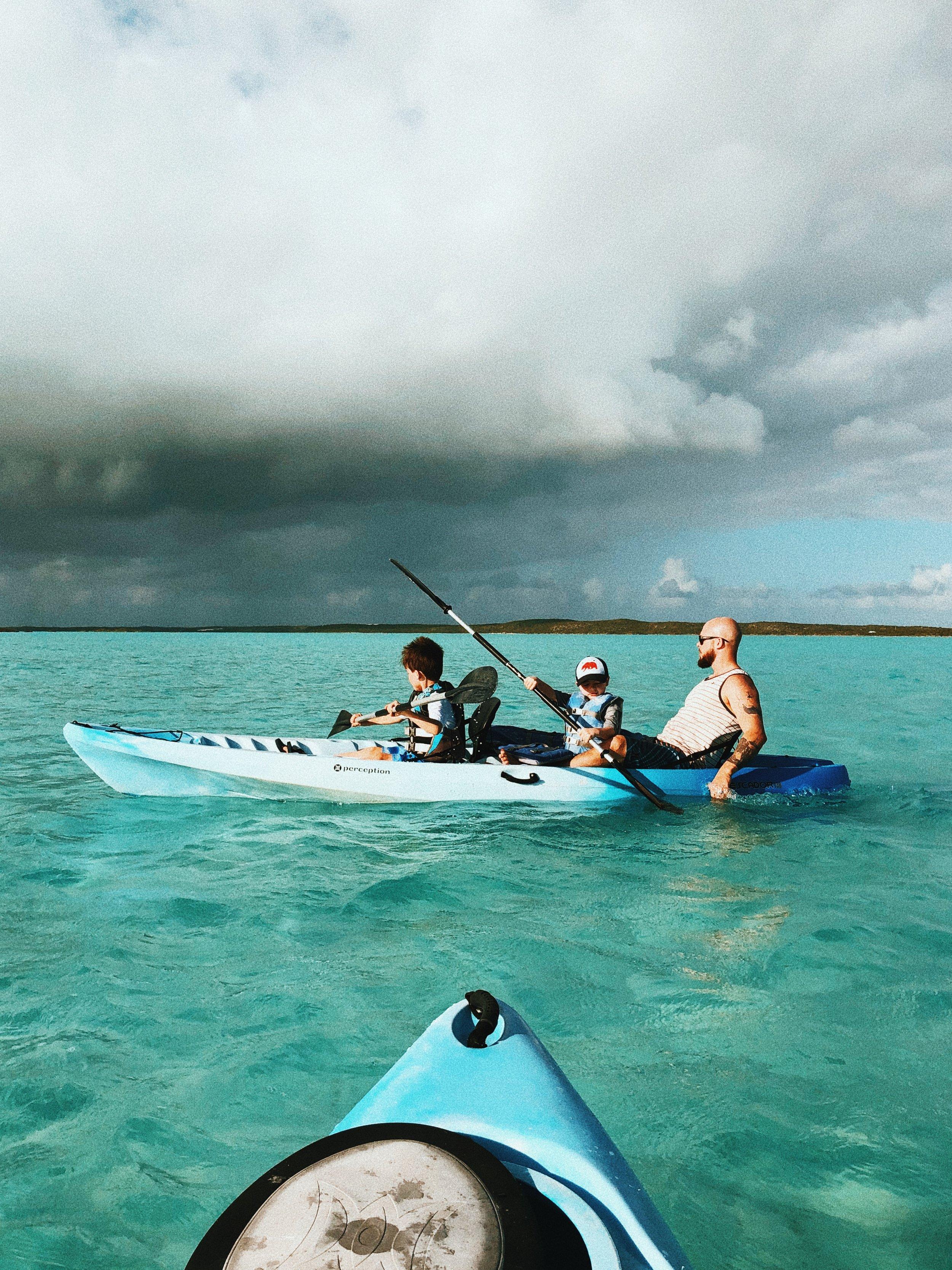Kayaking through chalk sound