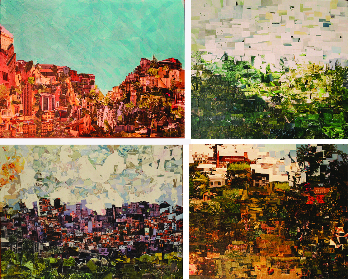 "Alison Tallman. Clockwise: ""What I Think Italy Looks Like"", ""Streets of Richard Dr."", ""A Memory Loss"", ""Slum Hill"""