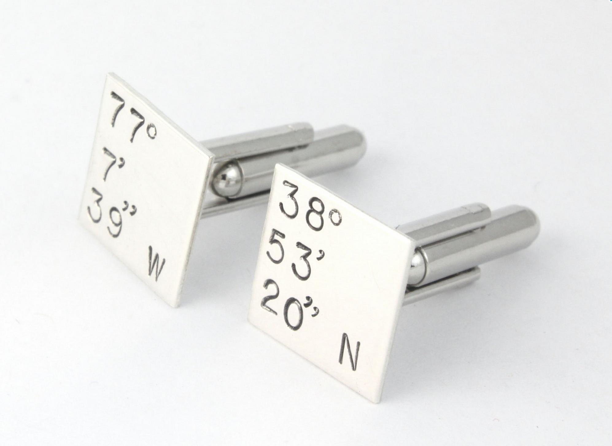 Latitude and Longitude Coordinate Cufflinks by TheSilverDiva