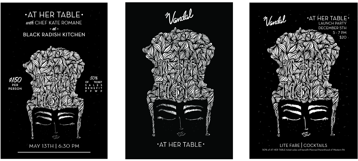 Marketing Materials for At Her Table Dinner Series.