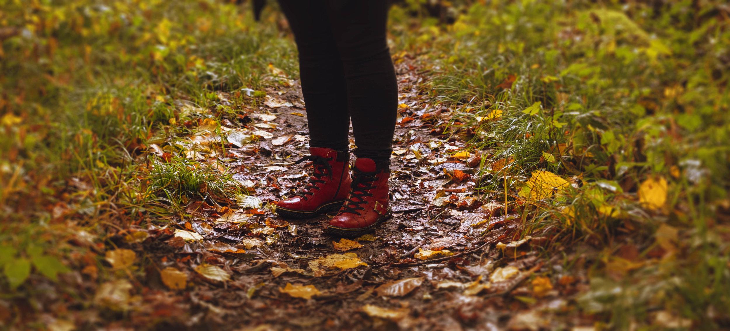 Sofies röda skor på höstpromenad