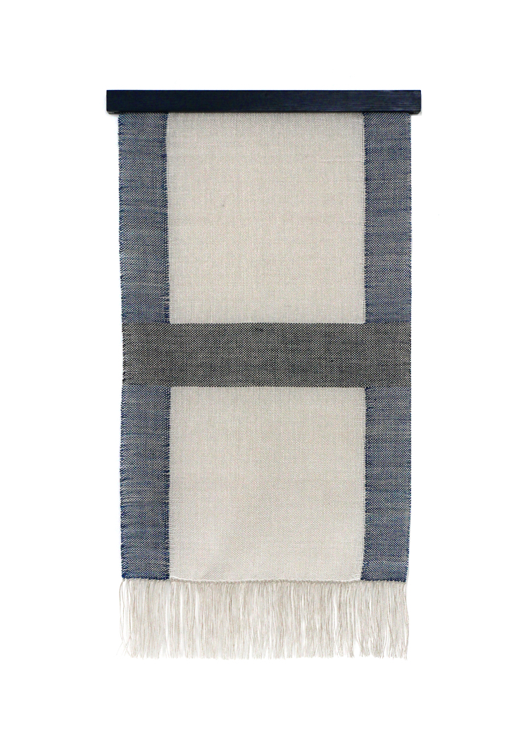 indigo and bleached hanging weaving