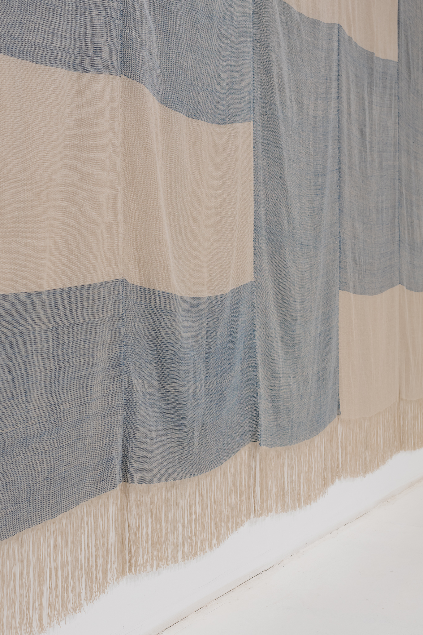 "detail of  Untitled , 2017, linen, natural dyes, 192"" × 136"""