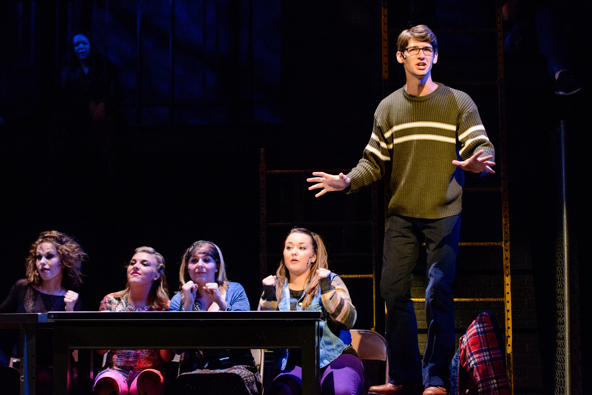 Current Student Patrick Wallace performing in the Siena Heights rendition of Rent in the fall of 2013.