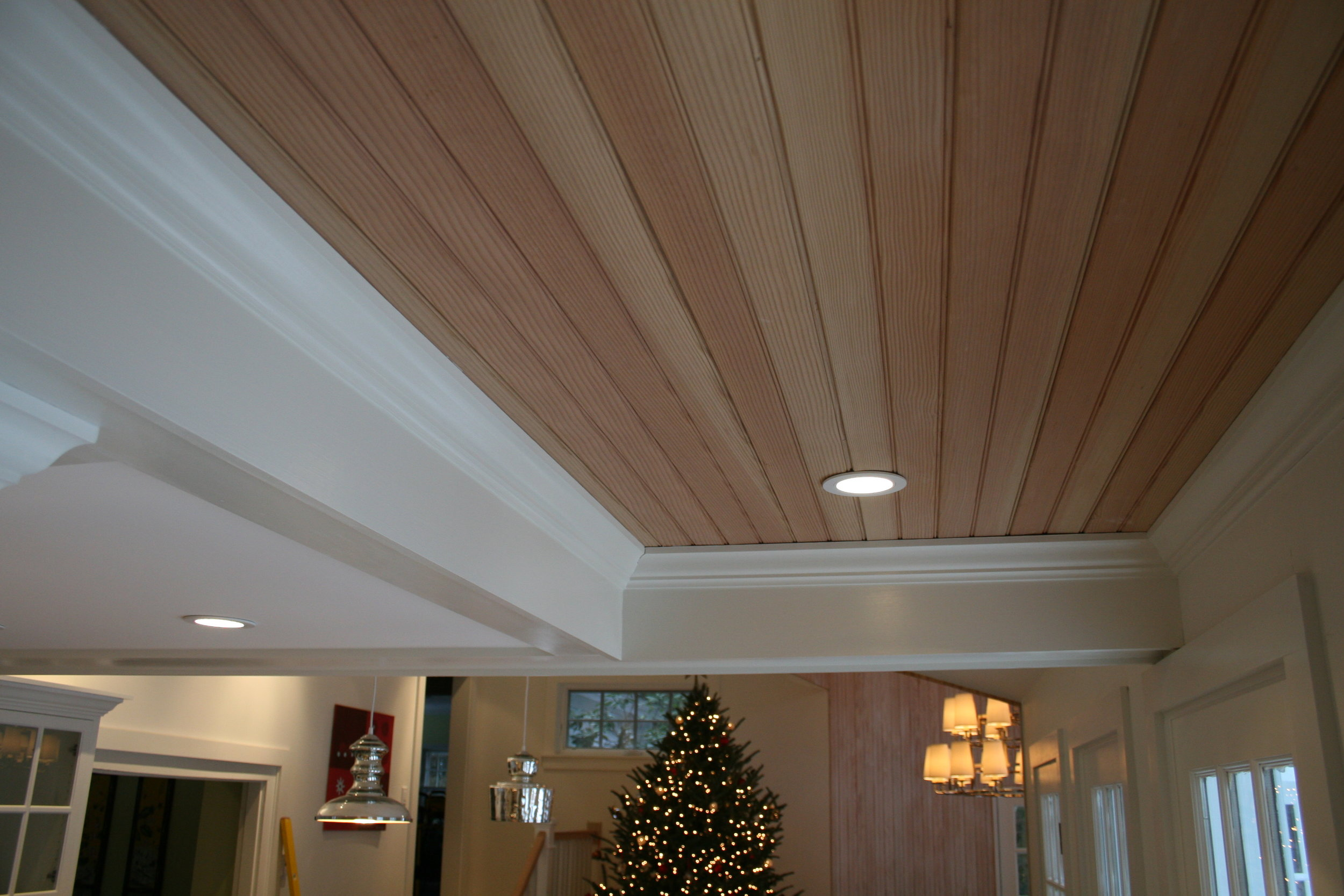 a coffered ceiling that was built in the hallway on the way to the kitchen.