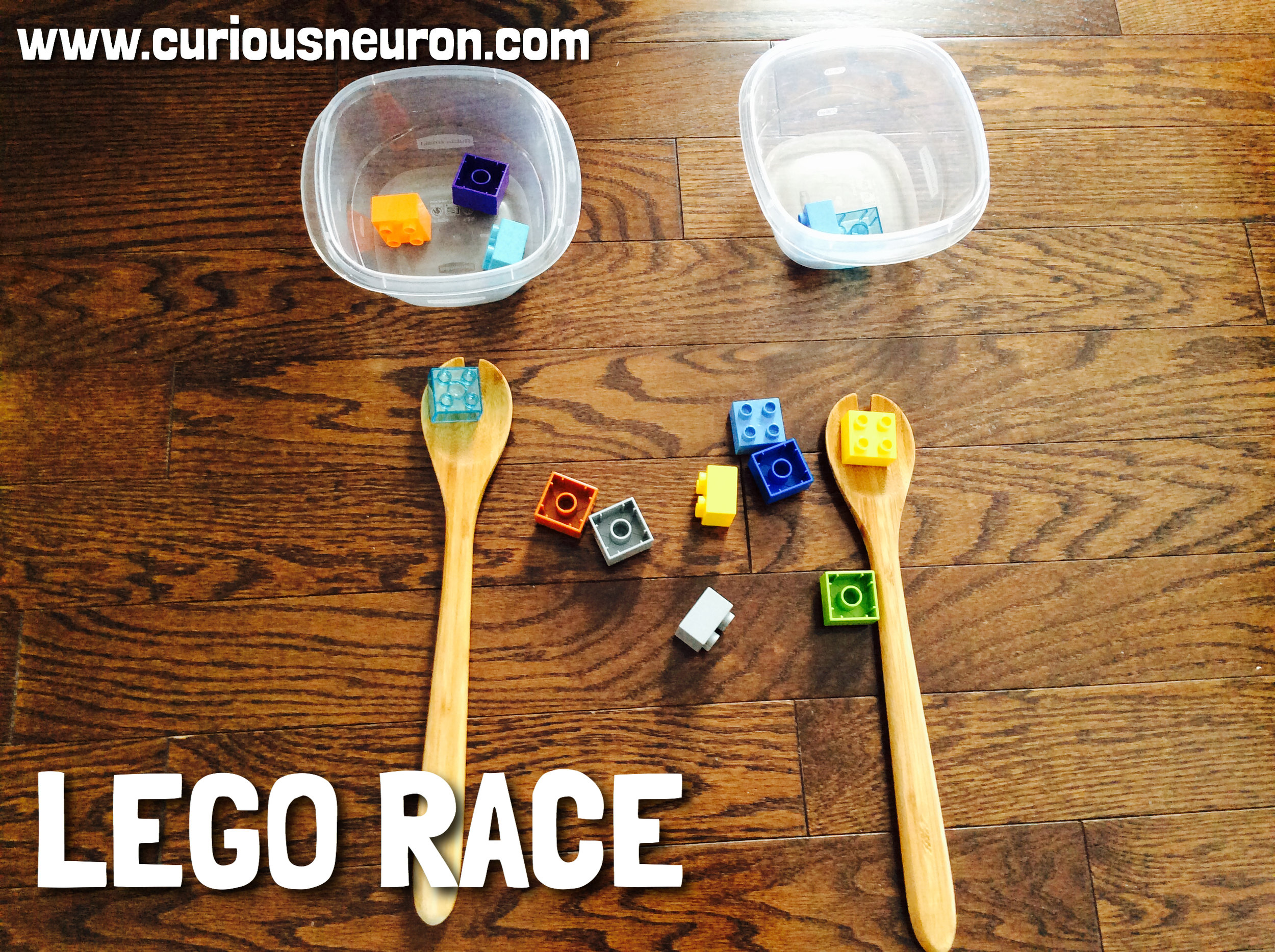 Add 2 containers at one end of the room and use spoons to carry your lego across the room. Don't drop it! If you do, you need to start from the beginning. You can vary this activity depending on your child's age. For instance, walking backwards, hop on one foot etc. With my toddler, we have to either jump or clamp before picking up a new Lego. Adding 1-3 rules helps build  executive functions .
