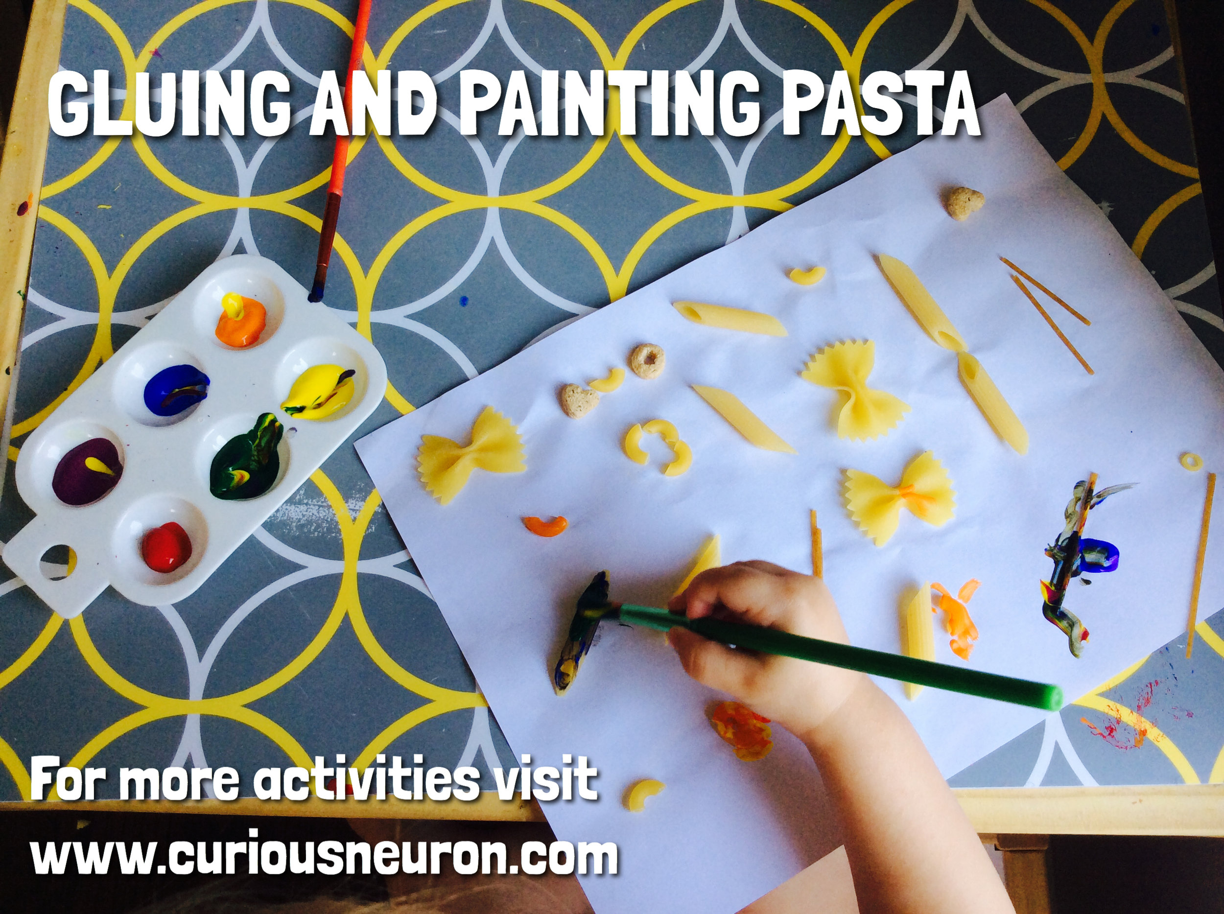 We adding some glue to pasta and pasted them on paper. We then painted them once they dried. Great for developing precision and motor skills.  This is also a great way to teach a child to look for similarities and differences. Which pasta shapes look similar? Do they feel similar? Teaching them to observe and question will help them in school. You can use only tube pasta such as penne and have them create letters using only pasta or they can even spell out their name.