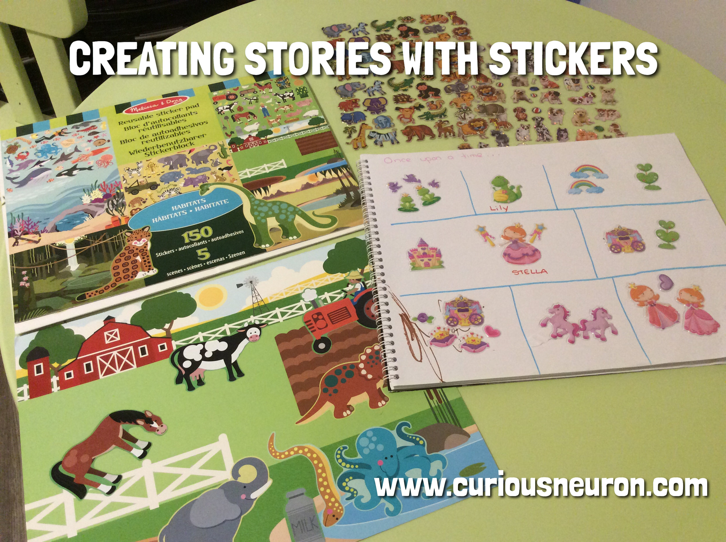 """Creating story boards with stickers is a great way to build creativity and executive function skills. If you do this with a toddler, provide lots of guidance. Start by saying """"Once upon a time there was..."""" and if they do not provide you with an answer, use your stickers to ask yes or no questions that will build your story. Ask """"Was there a frog?"""" """"What was the frogs name?"""" """"Did tis frog have a friend"""" """"Did the frog want to play?"""" """"Who did the frog want to play with"""" and so on. With older children, let them guide you!"""