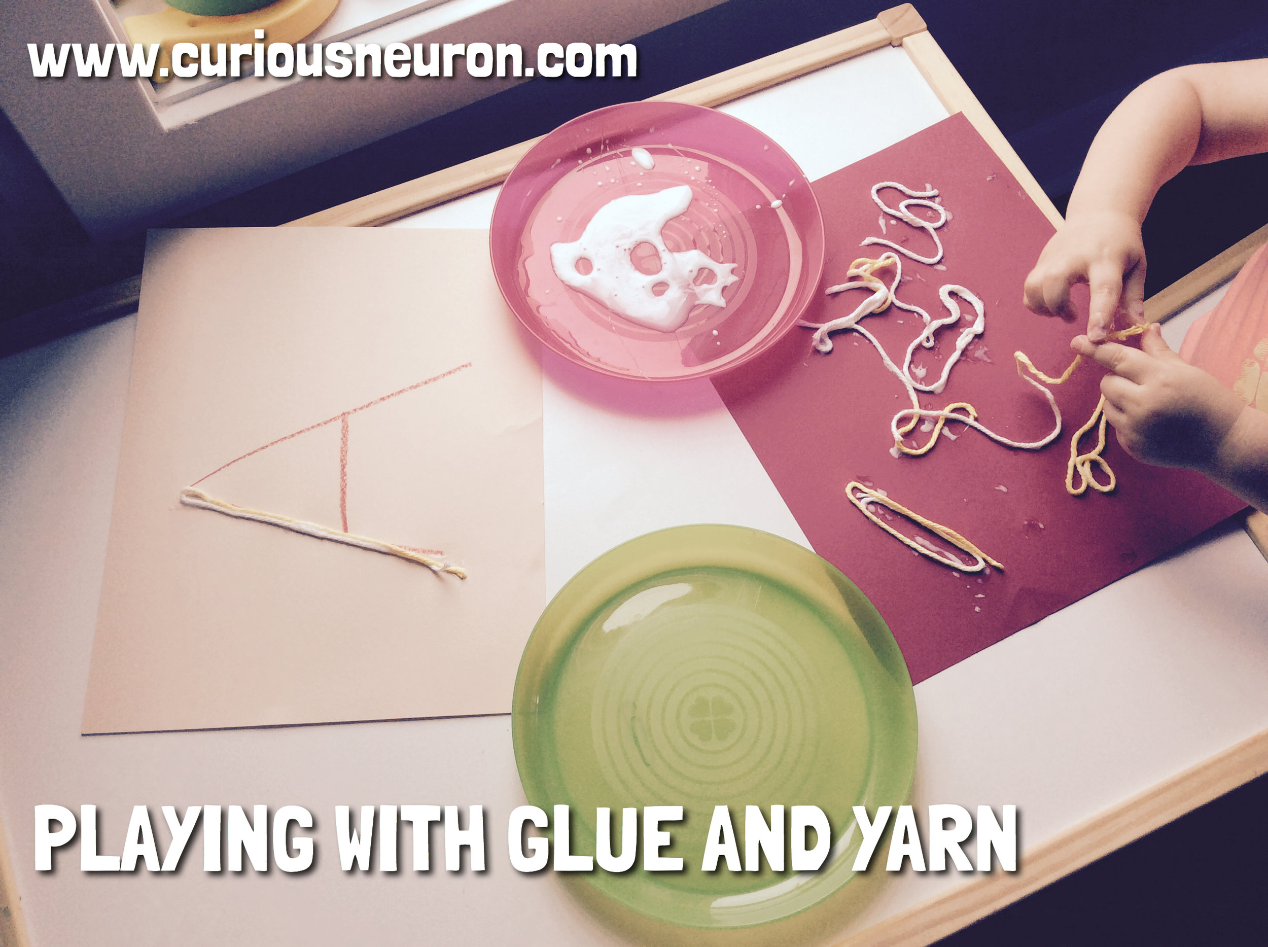 Add some liquid glue to a plate and use a paintbrush and some yarn. If you are doing this activity with a toddler, you can simply have them glue their yarn to paper and create art with it. With older children who are learning letters, shapes or counting you can also draw out the letters or shapes on their paper and have them glue their yarn over it.