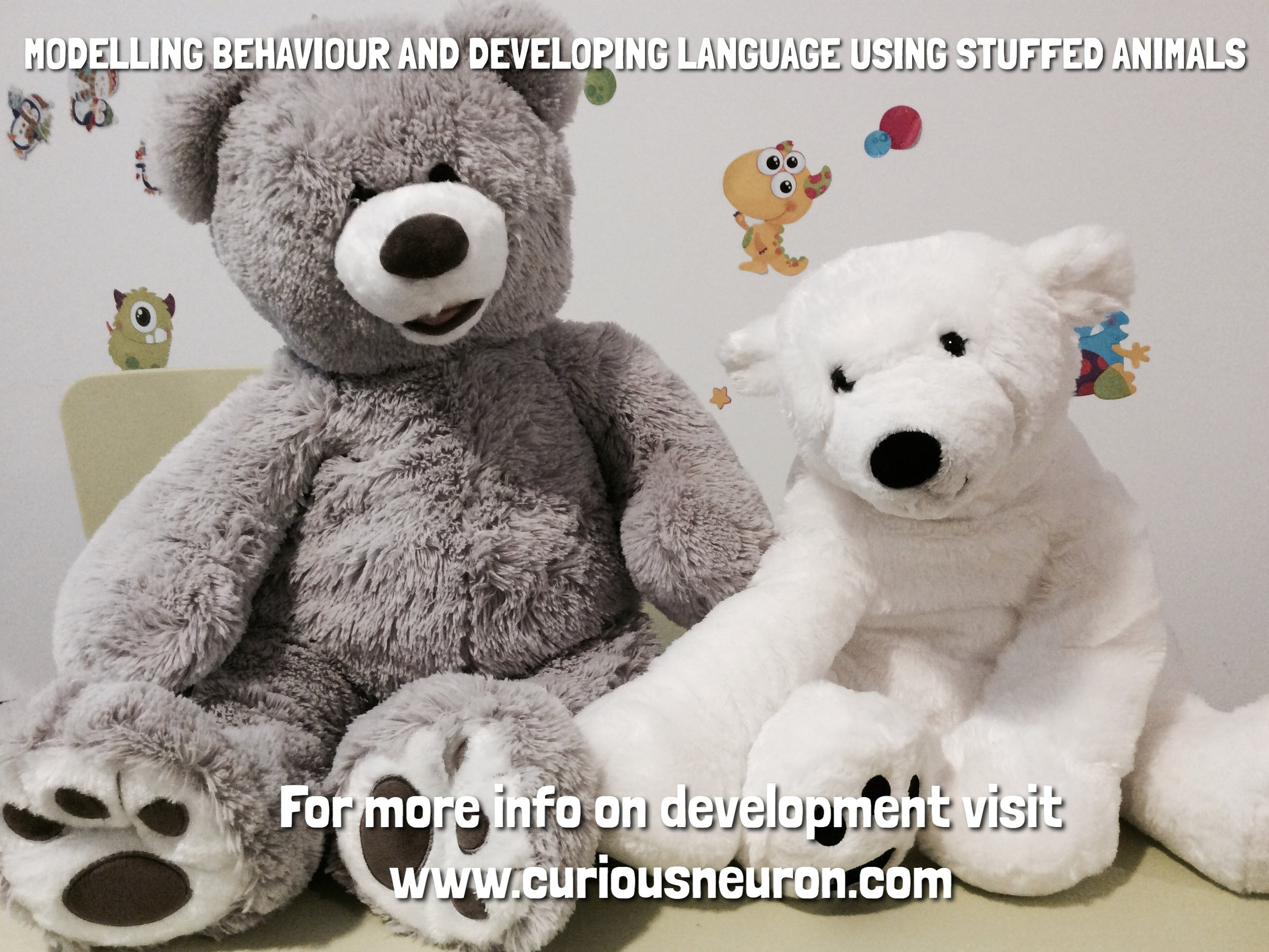 """As of around 6 months, using stuffed animals is a fun way to teach babies lots of language skills. As they get older and begin to learn to share and how to regulation their emotions, this can be modelled by with their stuffed animals as well.  I like to introduce words that I can associate with an action such as """"hug"""", """"high 5"""", or """"be gentle"""" (as I pat the bear). I also repeat, """"hi"""" and """"bye-bye"""" when we are with the bears. Since being alone with a baby might feel weird talking, you can talk to the bears! This increases the dialogue between you and your baby."""