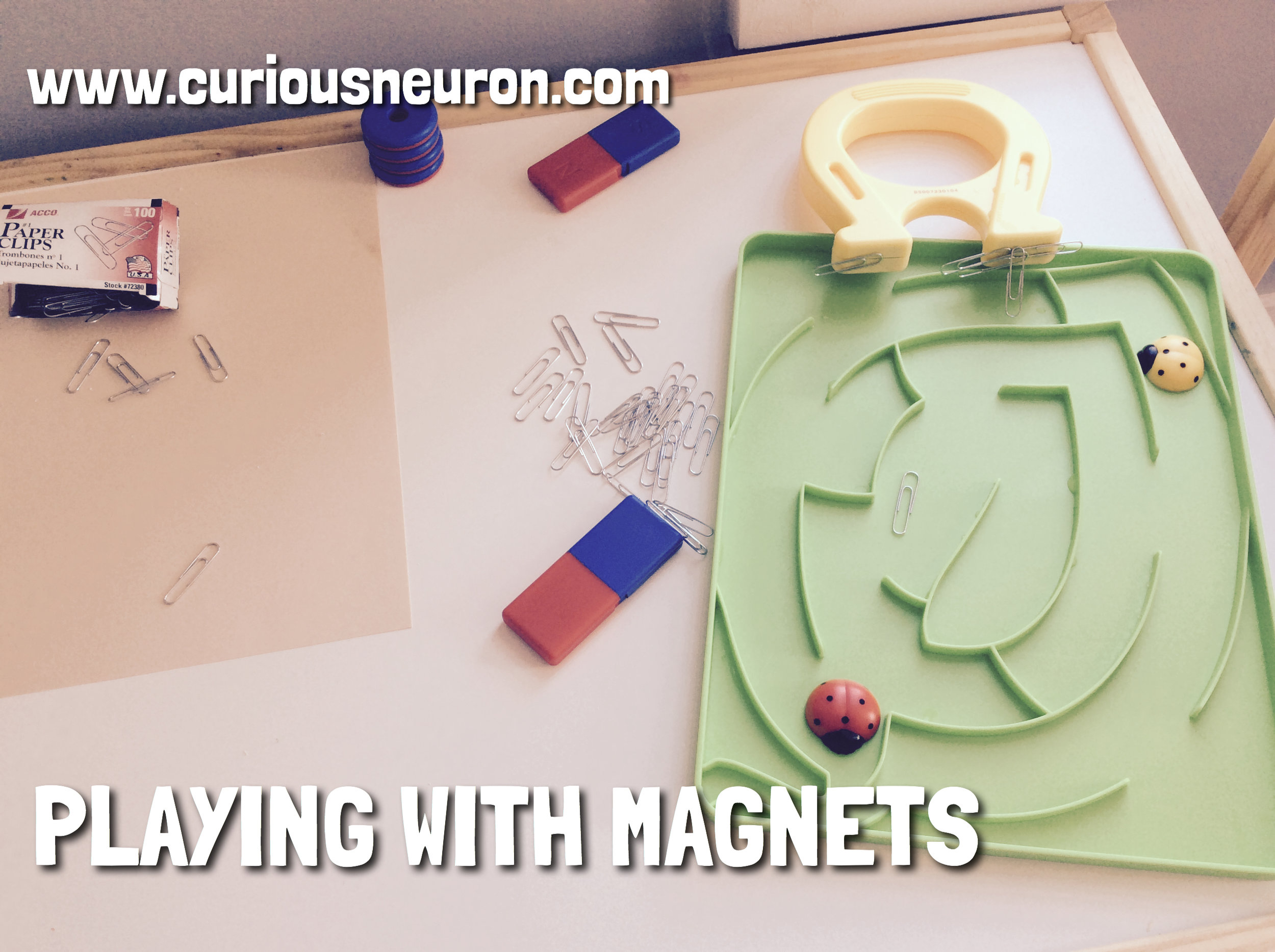 """We love playing with magnets! You can make it as simple as using a magnet and placing a bunch of items on a table and asking the question, """"Is it magnetic?"""". ave your child test out each item with their magnet. We love playing with our  magnet set from Learning Resources ."""