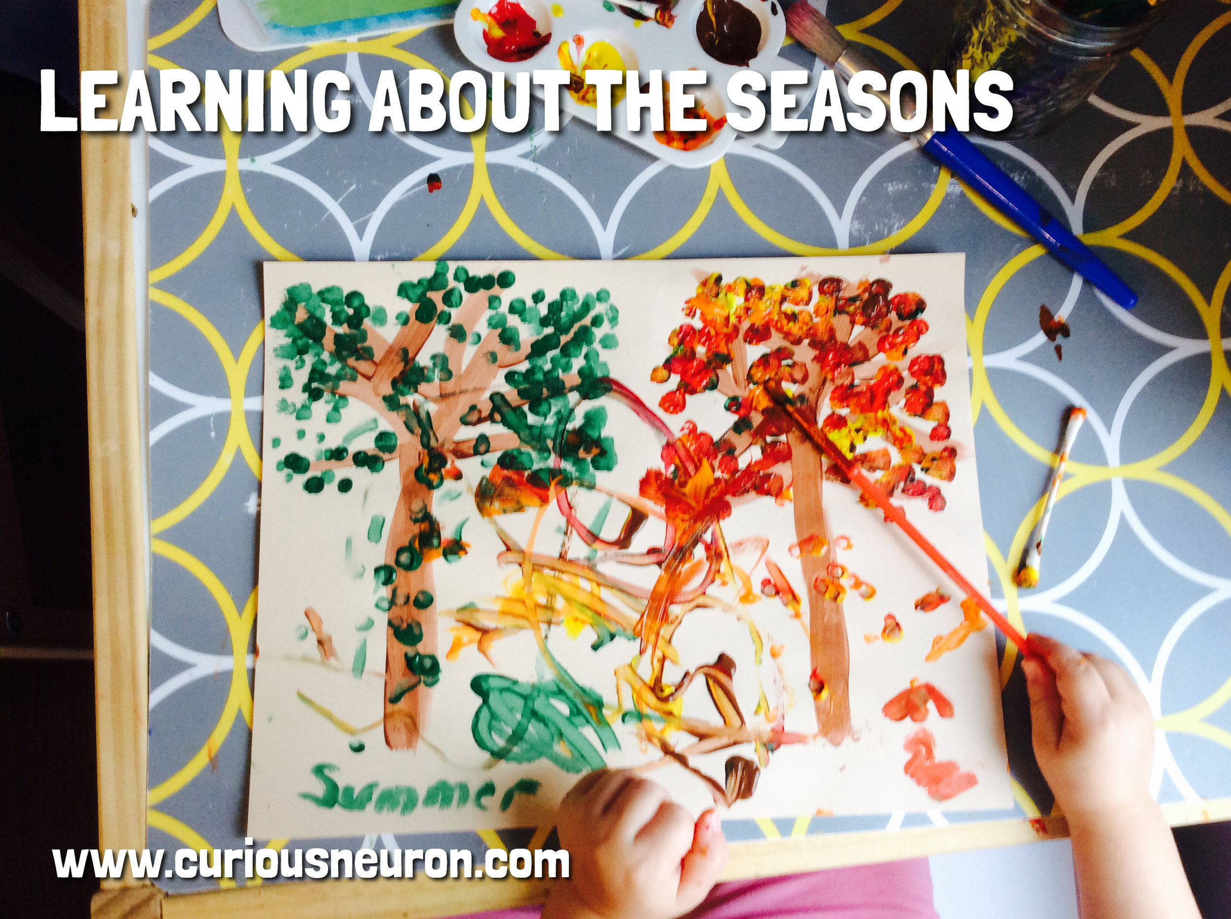This is a simple arts activity to help you discuss seasons with your child. We used paintbrushes and Q-tips to paint our leaves. We only drew 2 trees in this picture but you can divide the page into 4 and have them draw out trees representing all 4 seasons.
