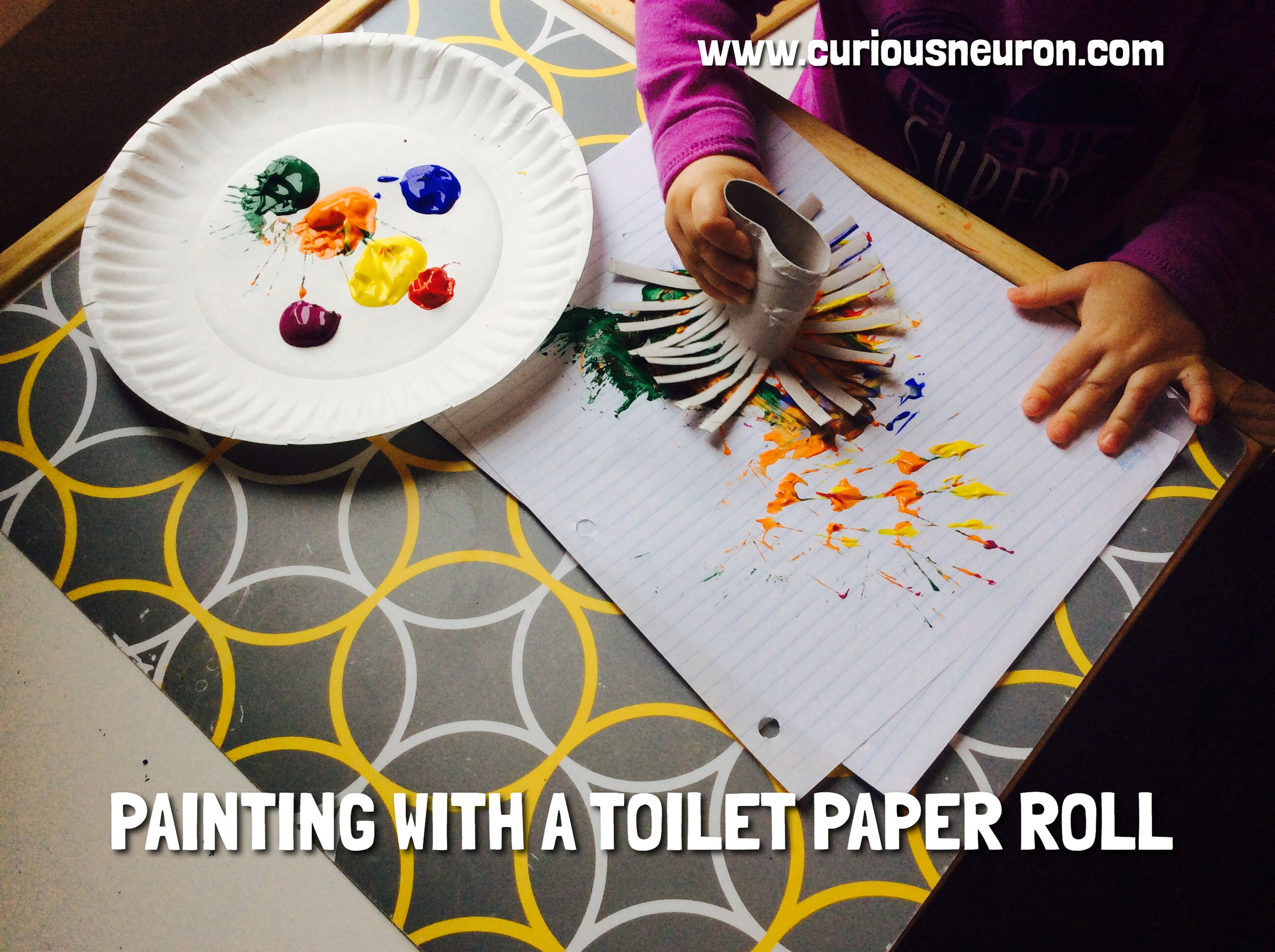 If you have an old role of toilet paper, you can cut the bottom up into strips of any size and flair it out to use it as a paint brush.