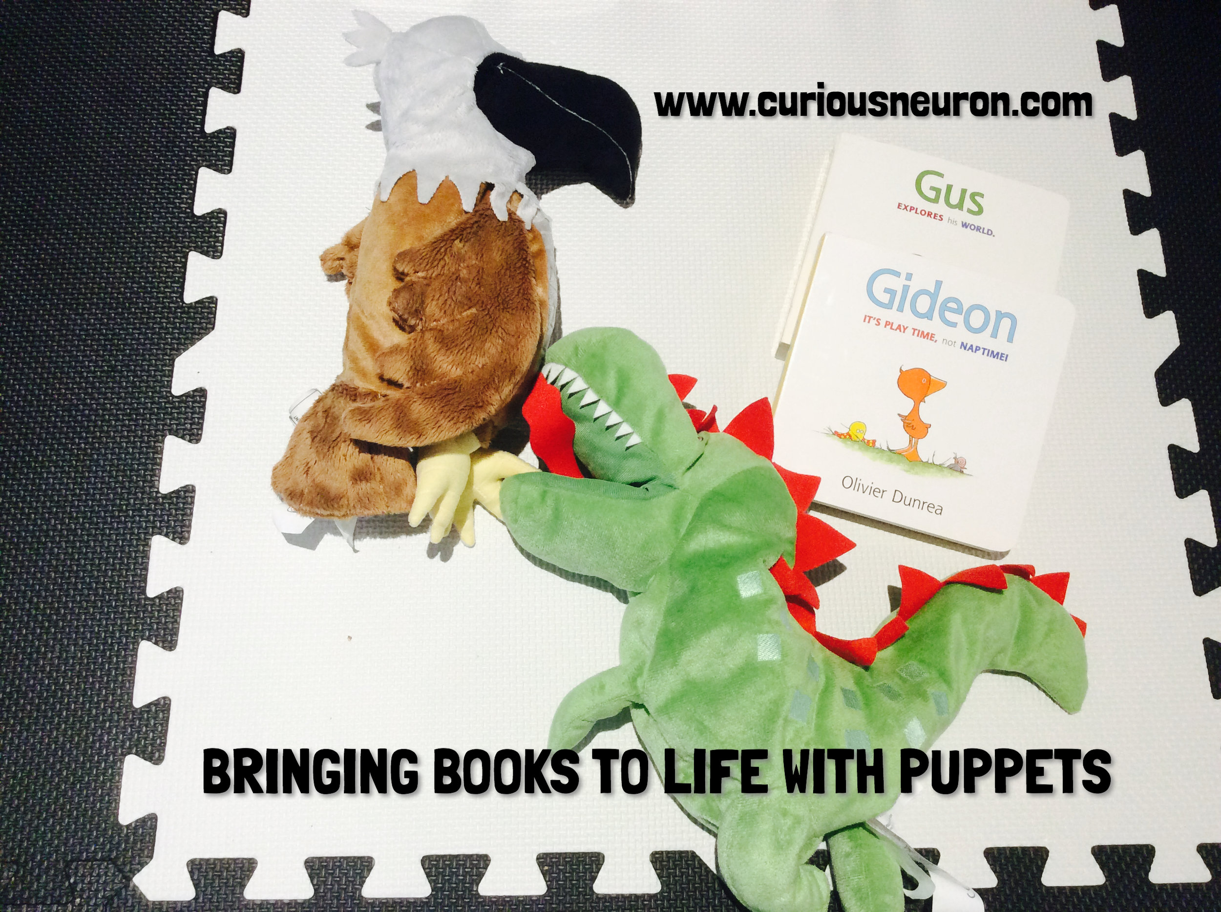 A fun way to bring a book to life is to use puppets. I love using the  Gossie and Friends collection by Olivier Dunrea . The characters jump. run, hide, look to the left/right etc meaning that these actions can be acted out by your puppet. As your child gets older, you can also get them to act out these books. My toddler has lots of fun putting on a play with this collection of books.   4 month milestones : Likes to play with people and might cry when playing stops, follows movings things with eyes from side to side, copies facial expressions and reaches for toy with one hand.