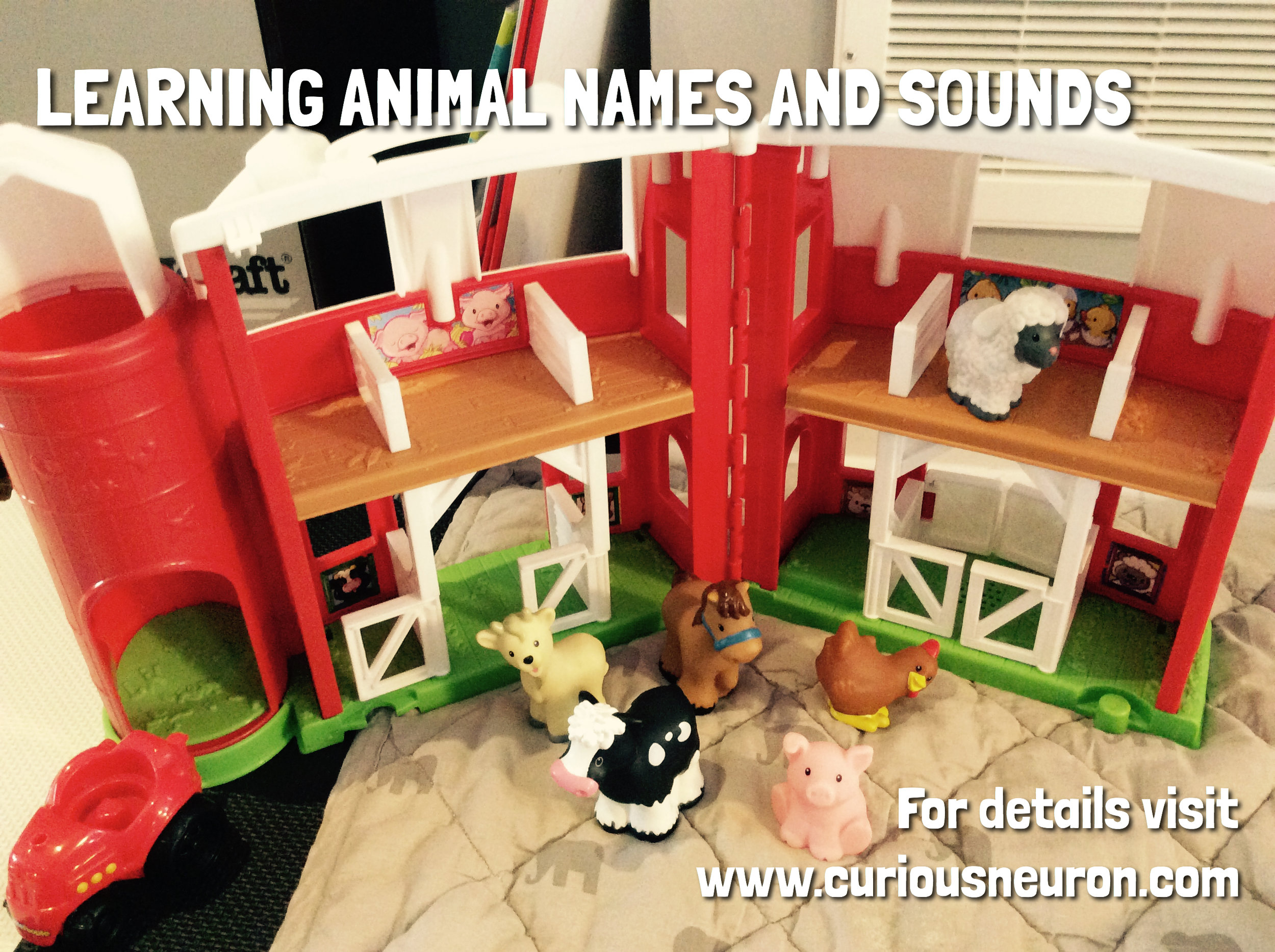 """Animal sounds are a fun way to help babies with language skills. Using small figurines can bring them to life. You can create a story with the figurines as well.   6 month milestone : Begins to say consonant sounds (jabbering with """"m,"""" """"b"""")"""