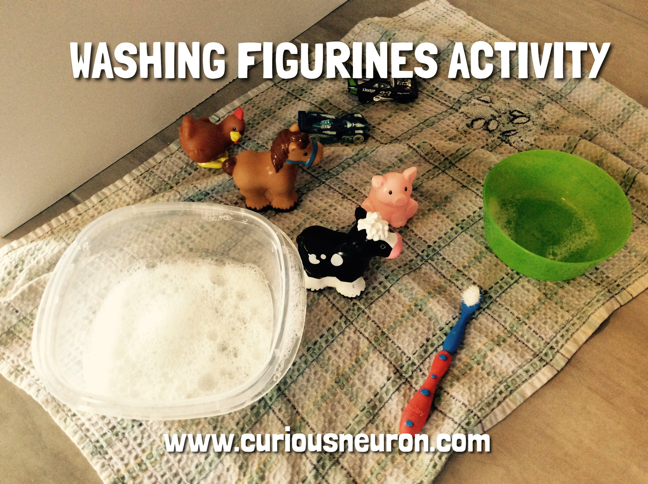 Need a quick activity with very little materials? A container with soapy water, another with only water, an old toothbrush (or a sponge) and some toys that can get wet (I use  Little People figurines  or  Hot Wheels cars . Playing with water is fun! I ask my children to wash their toys and rinse them off with the water. Then I have them dry them with a cloth.