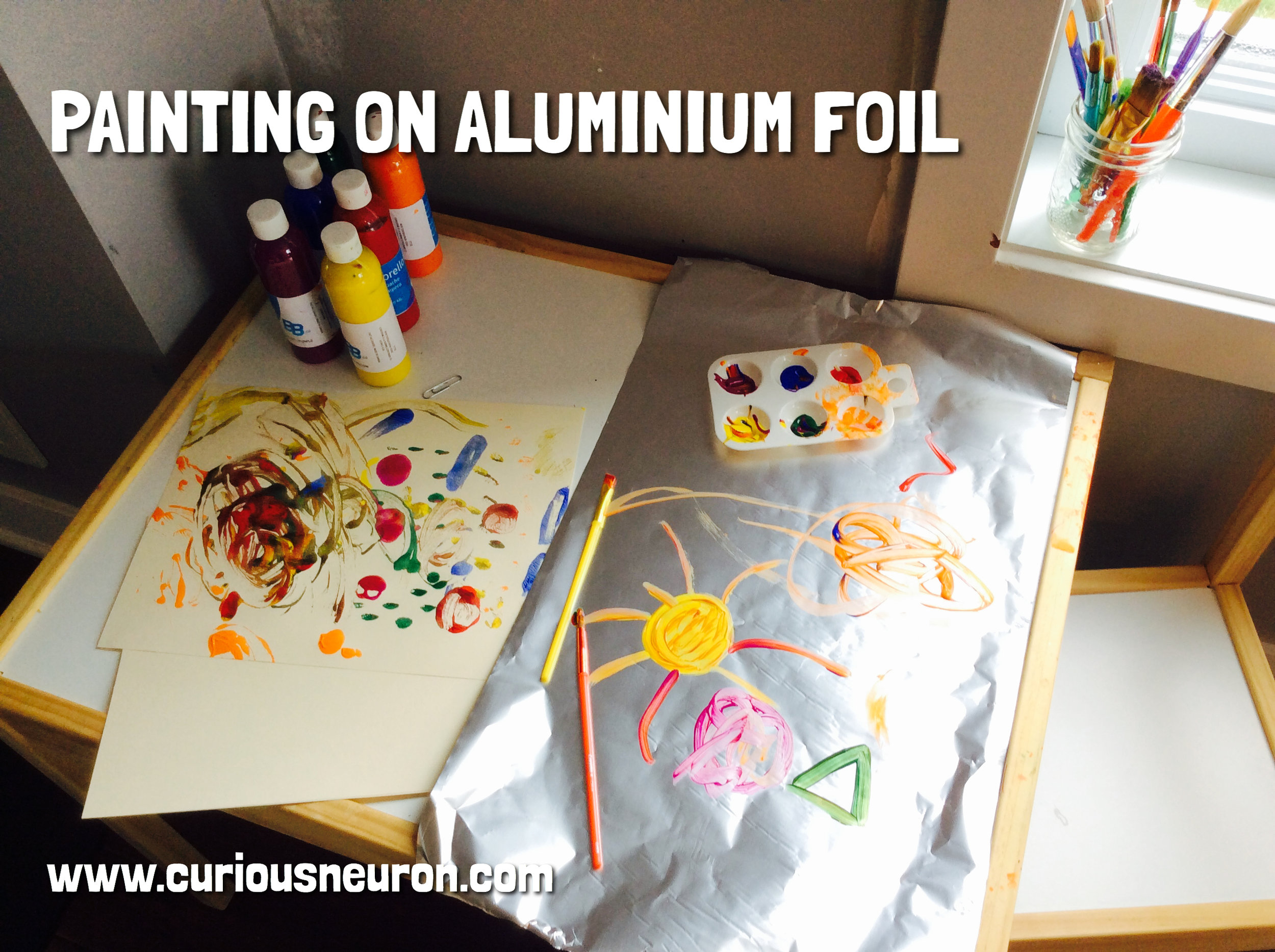 Changing what you use as a canvas is a fun way to keep painting entertaining for children. Painting on aluminium foil is fun for younger children since the paper has a nice shine to it! We used tempera paint for children.