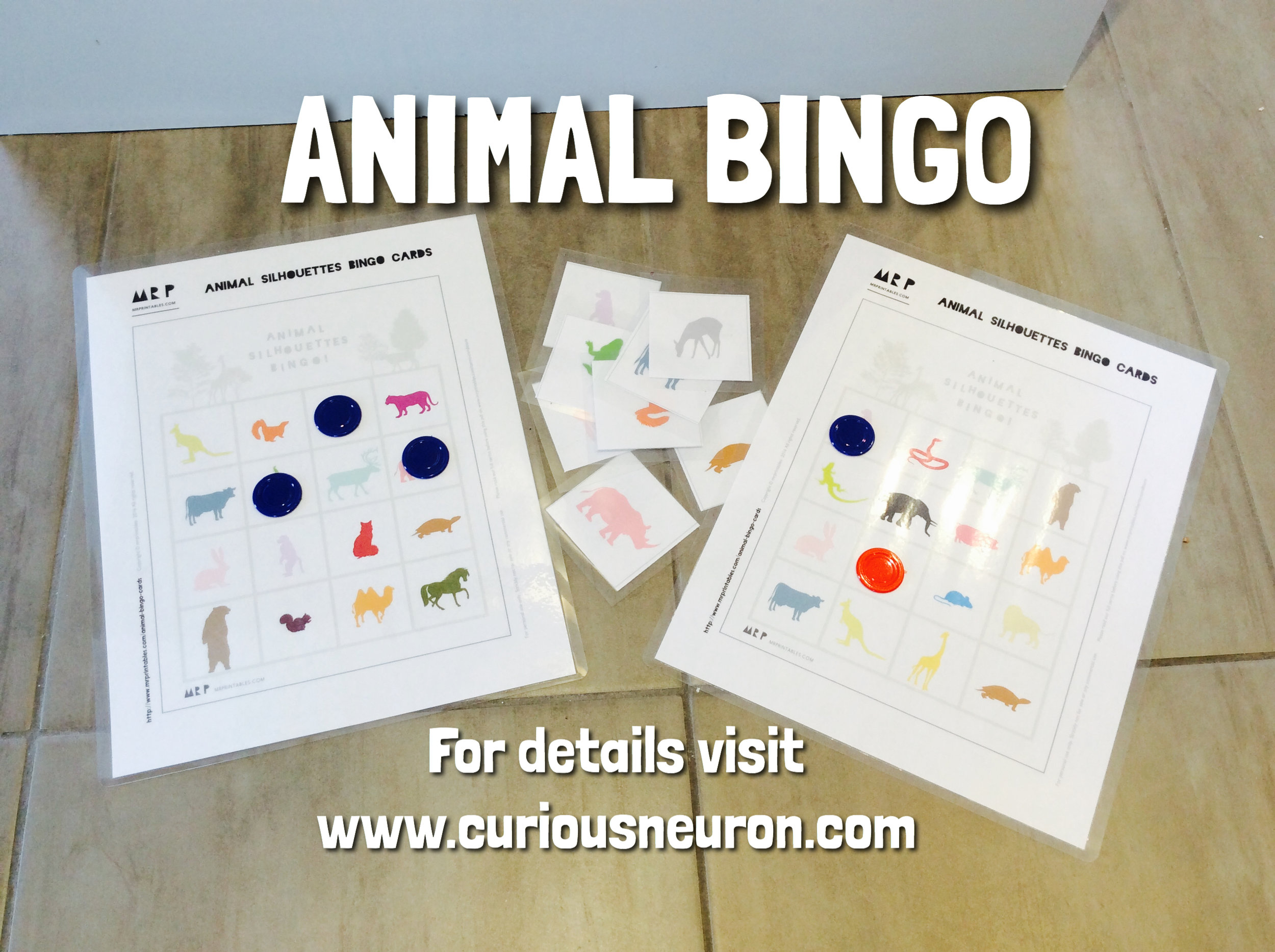 I love the  Mr. Printables  website. It has quick activities you can print out and play instantly! I found  Animal Silhouettes Bingo . We love playing this during meal time. It helps to keep our toddler at the table! I laminated it so that we can keep it in a better condition for a little longer! We use tokens or pom poms.