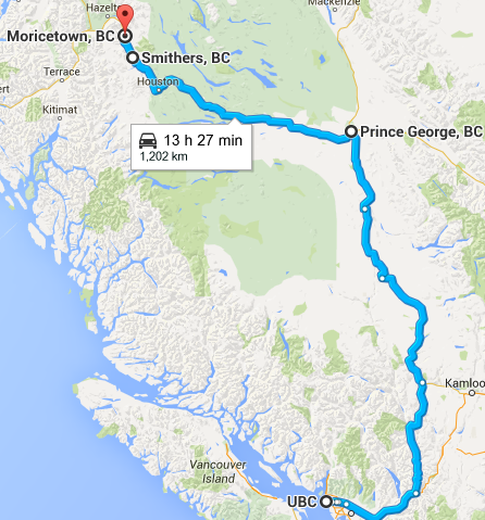 The route (we flew to Prince George, and home from Smithers). We drove PG to Smithers.