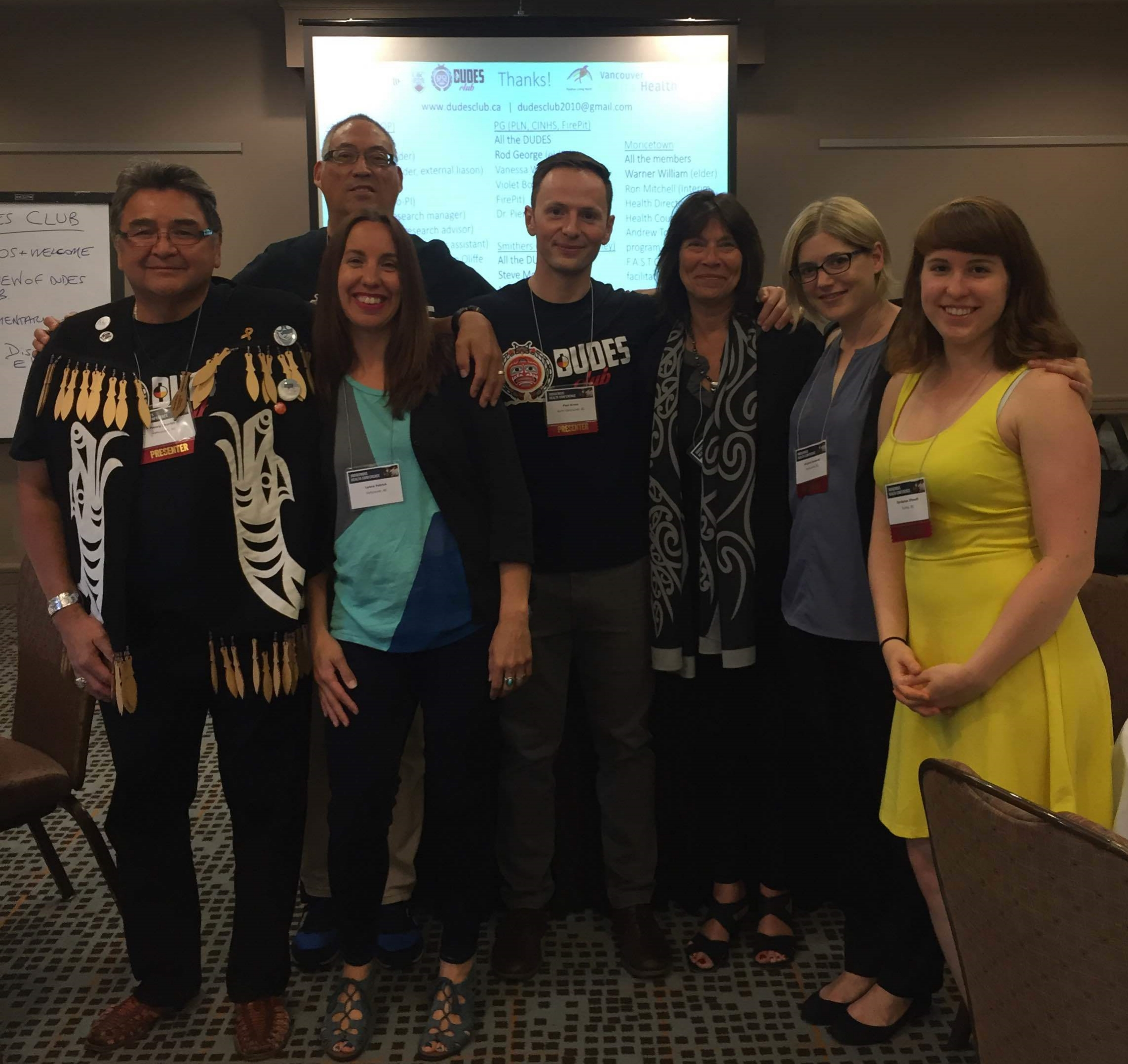After our workshop at the conference. From left to right - Henry Charles, Sandy Lambert (back), Lyana Patrick (front), Dr. Paul Gross, Dr. Vicki Smye, Viviane Josewski, and Iloradanon Efimoff