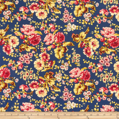 Manufacturer: Wilmington Collection: Barcolage Fabric: Large Floral Navy Type: Quilting Cotton Width: 44/45