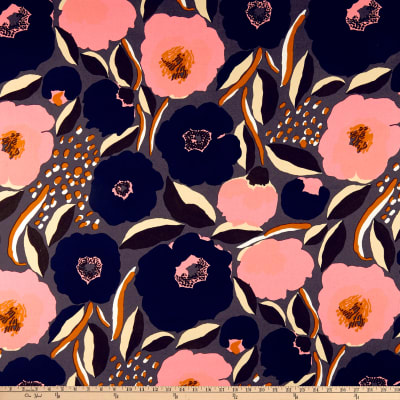 "Manufacturer/Brand: Marimekko Fabric: Rosarium Heavyweight Cotton Navy Type: Home Decor Broadcloth Width: 57"""