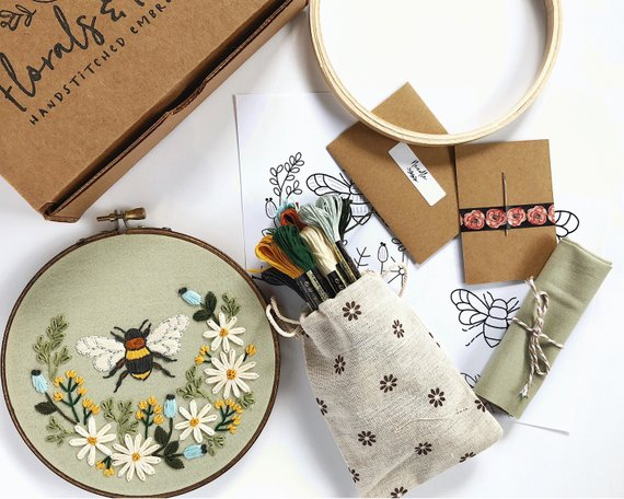 Honey Bee Embroidery by Florals and Floss on Etsy | #handembroidery #embroiderykit #embroidery #embroiderypattern #floralsandfloss #etsy