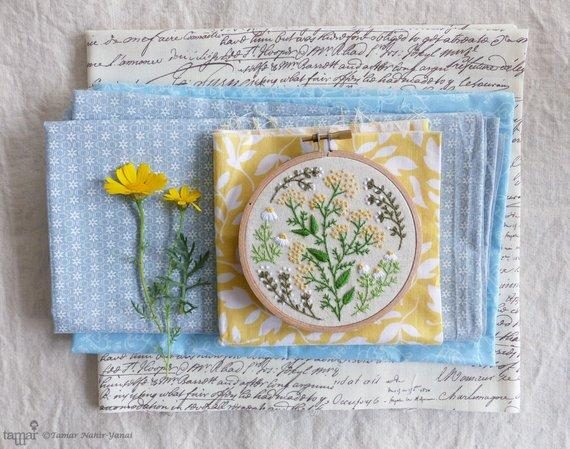 Green Garden Embroidery Kit by Tamar Nahir Yanai | #handembroidery #embroidery #embroiderykit #embroiderypattern