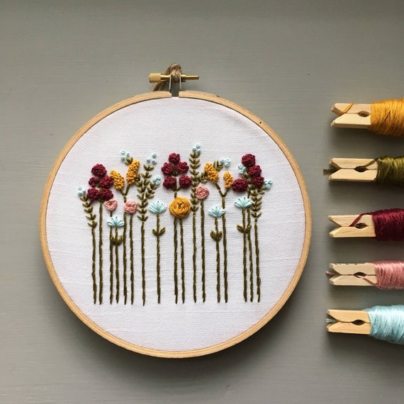 Autumn Wildflowers Hand Embroidery Pattern by And Other Adventures | #handembroidery #embroidery #embroiderypattern #stitching #handstitching #etoile