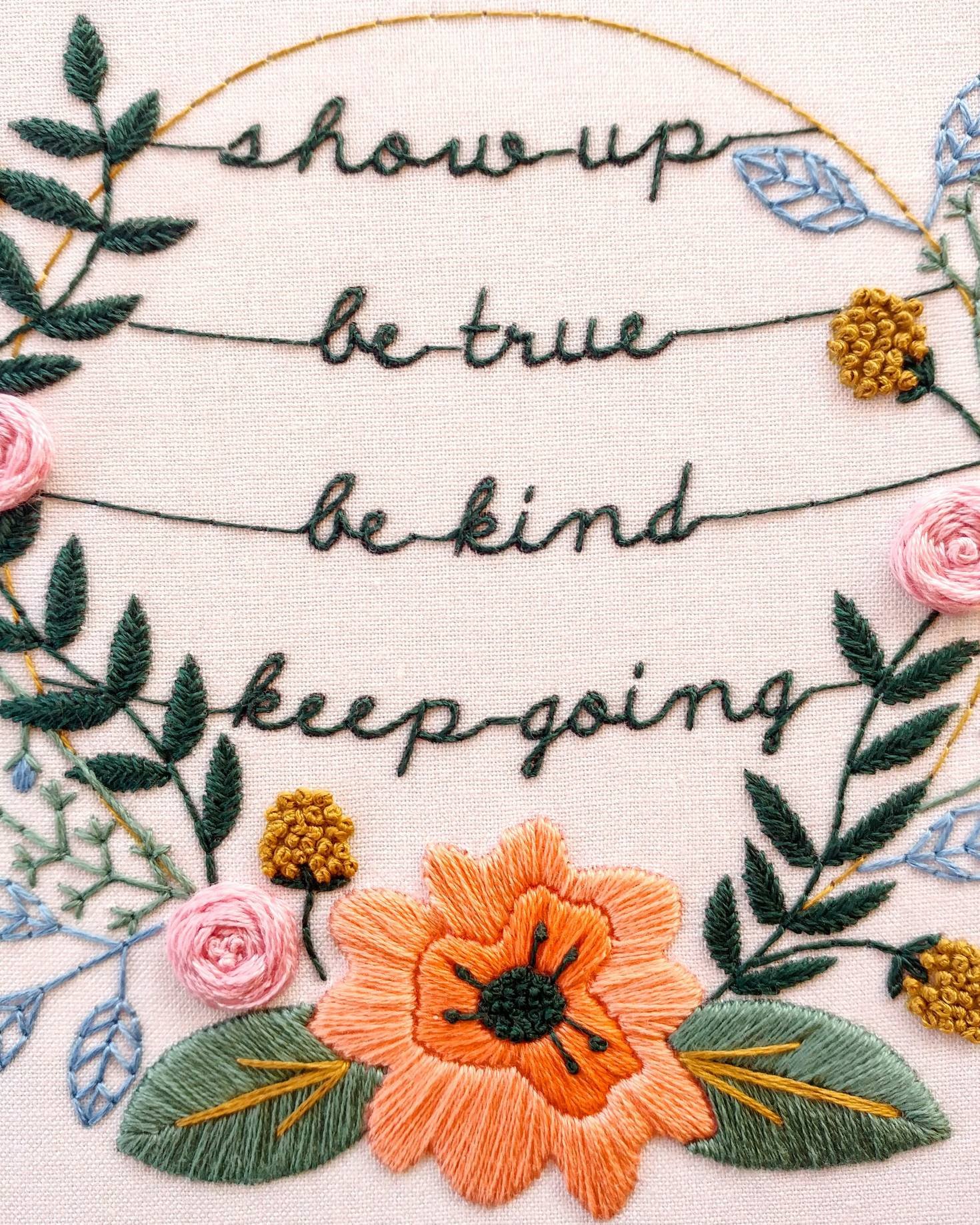 Show Up Embroidery Kit by Cozy Blue | #handembroidery #embroiderykit #embroiderypattern #etoile