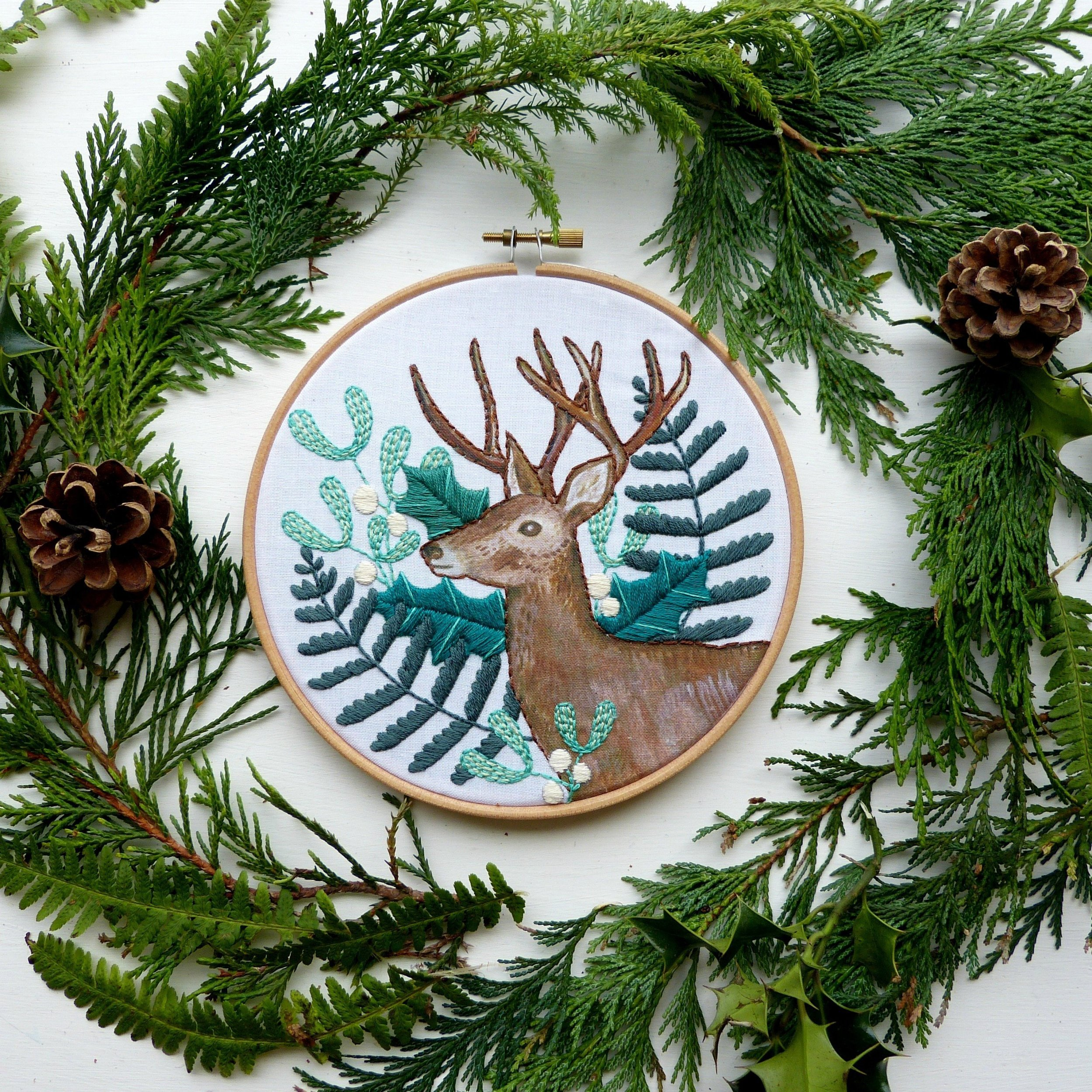 Winter Greens Embroidery Kit by Jenny Blair | #embroidery #embroiderykit #embroiderypattern #etoile