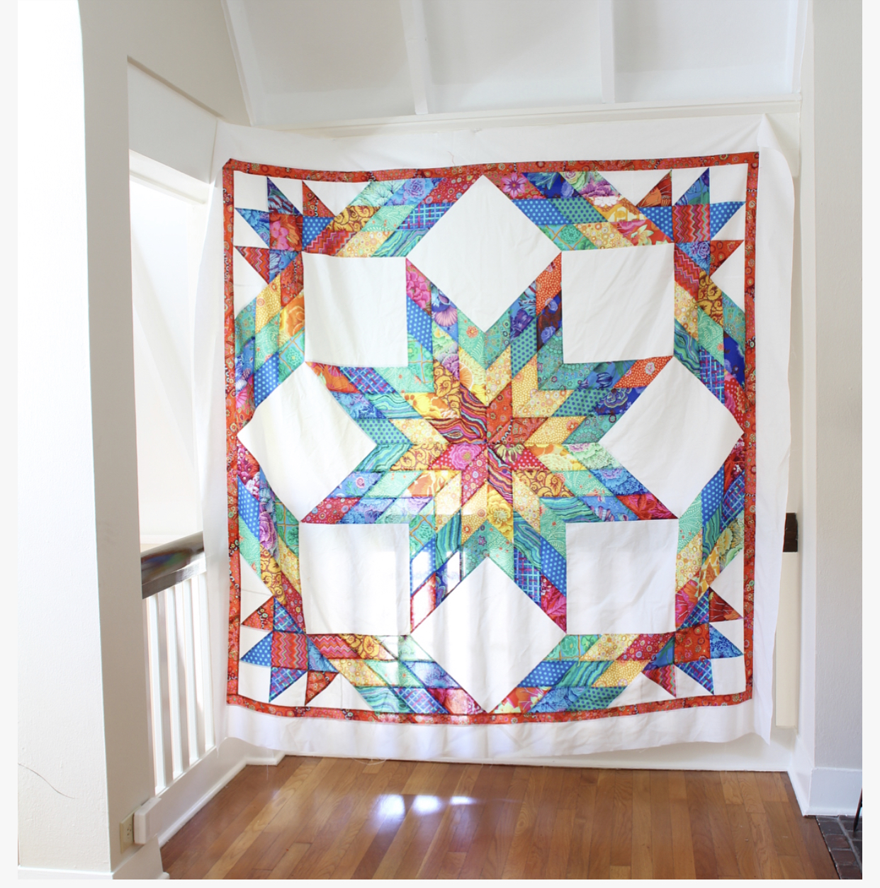 Kaffe Fassett Rainbow Lone Star quilt designed by Callie Works-Leary | #quilt #quiltpattern #rainbowquilt #rainbow #lonestar #lonestarquilt #modernquilt #traditionalquilt