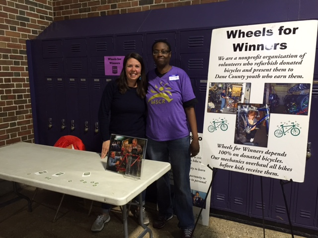 """Madison School and Community Recreation (MSCR) held a free Family Festival & Resource Fair on April 24th at East High School. Attendees enjoyed activities based on the evening's theme """"Be the Best You."""" Pictured above are Katy Coelho, Wheels for Winners board member and Ericka Brown, MSCR After School Director of Hawthorne Elementary."""