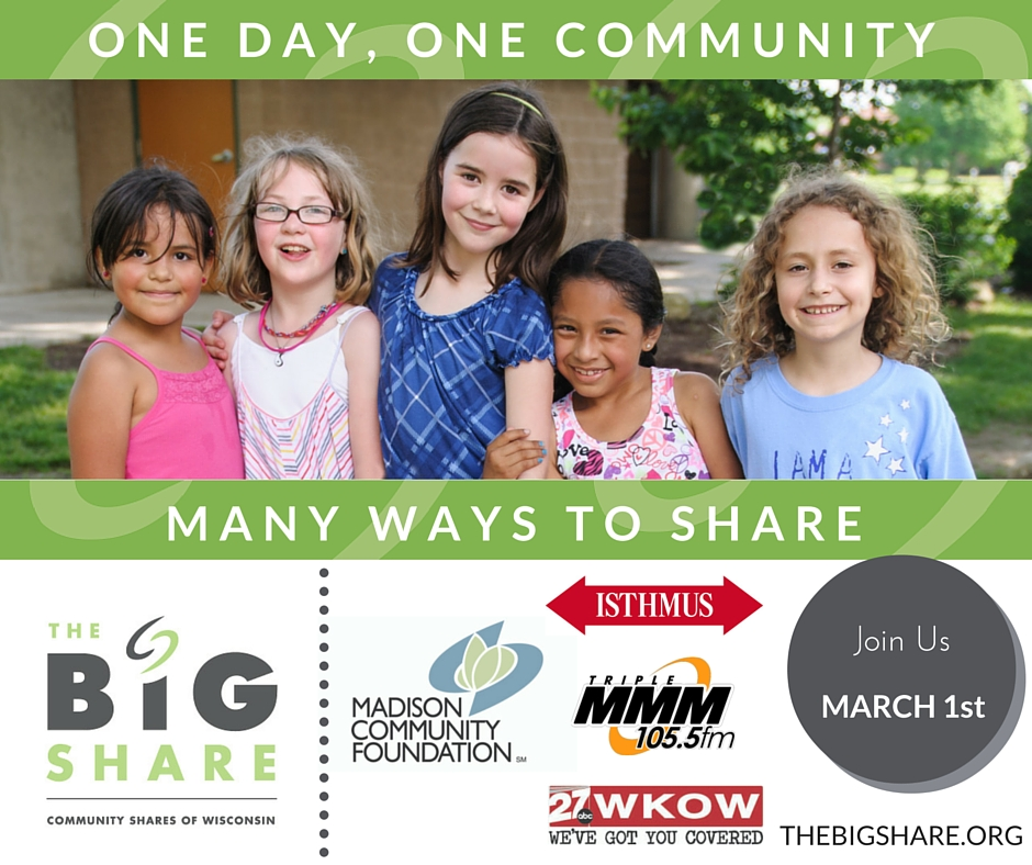 We are once again participating in The Big Share, a 24-hour online giving event supporting organizations working in Wisconsin. We are excited to announce that Budget Bicycle Center has issued a challenge grant for our Big Share campaign. For every dollar you give to Wheels for Winners on March 1st, Budget Bikes will match it up to $1000 - doubling the impact of your gift! Click  here  to donate.