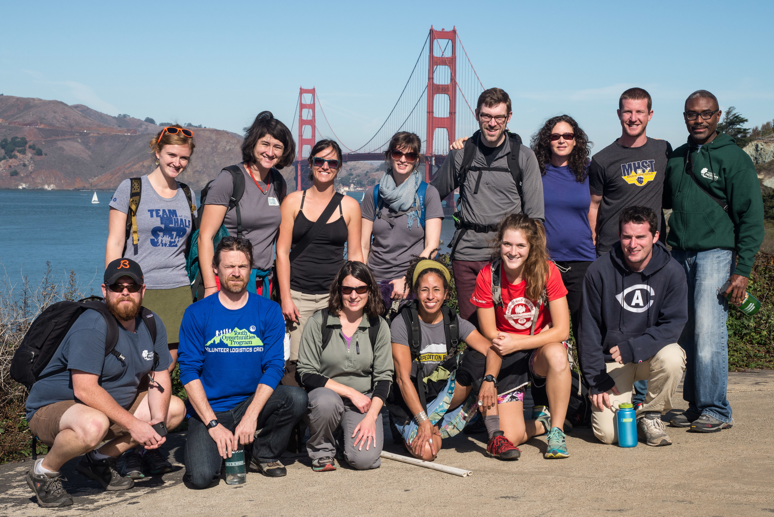 To the bridge! A group shot with San Francisco's iconic Golden Gate.