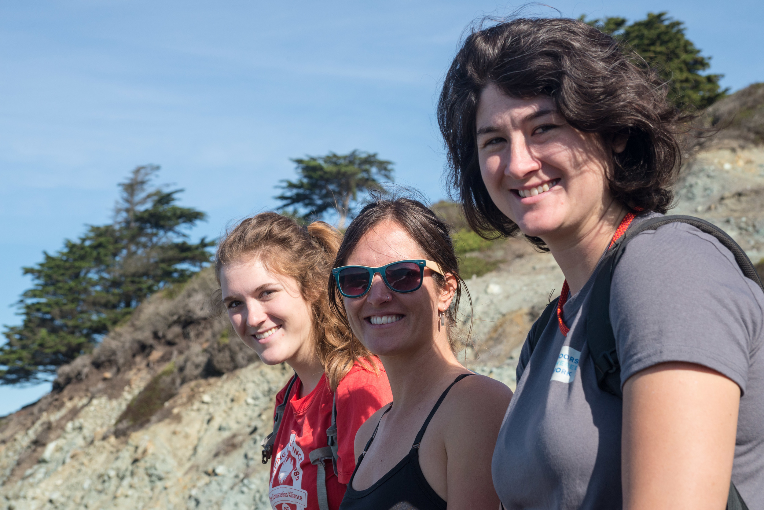 New partnerships, new friends. Brooke from the Portland Gear Hub, Meg from Idaho Youth Wilderness Initiative, and Kellen from the Outdoors Empowered Network cruise the trails together.