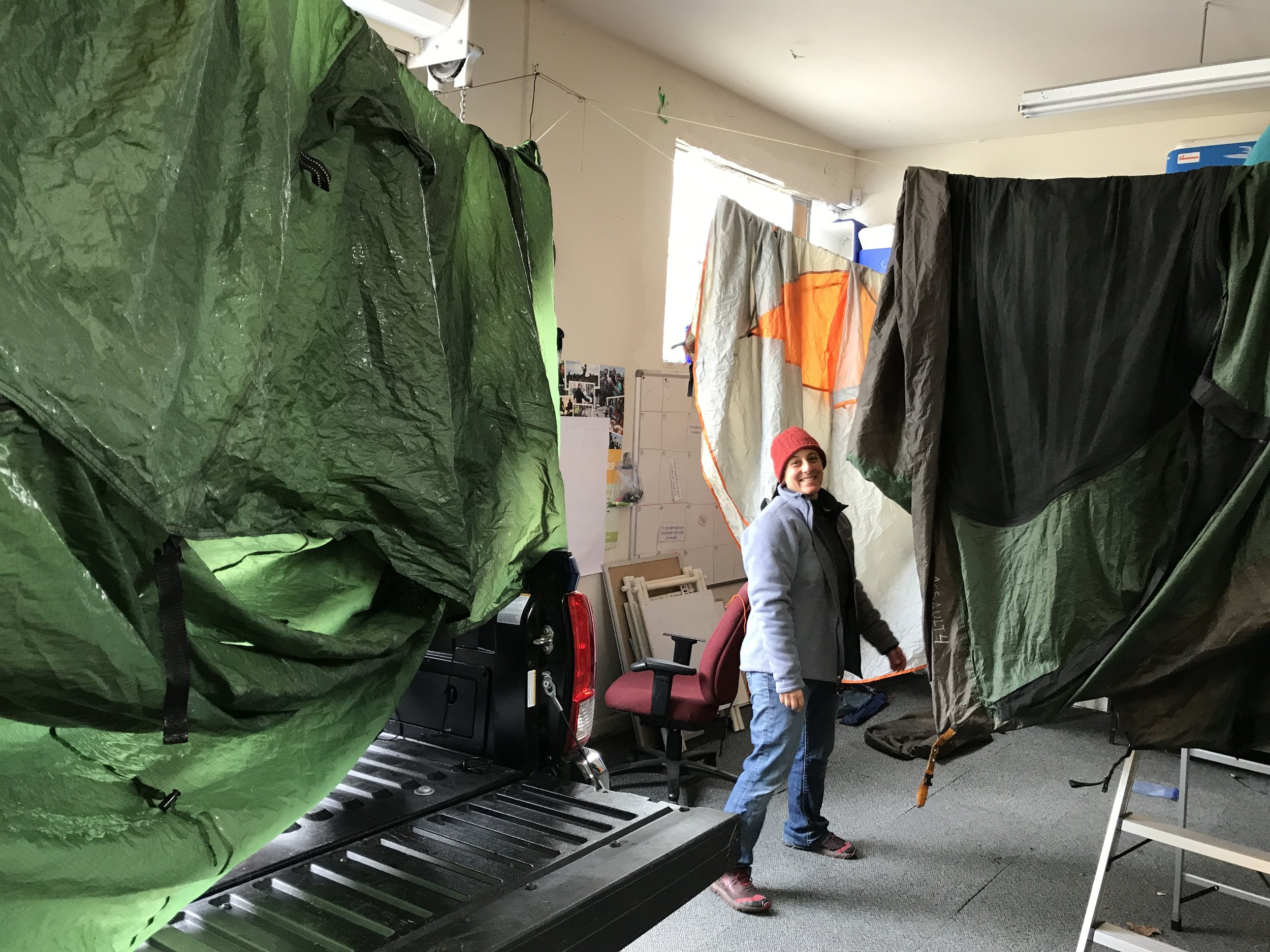 Jen Antonuccio, a long time BAWT faculty (volunteer instructor) makes sure the tents dry out post course in the BAWT gear library.