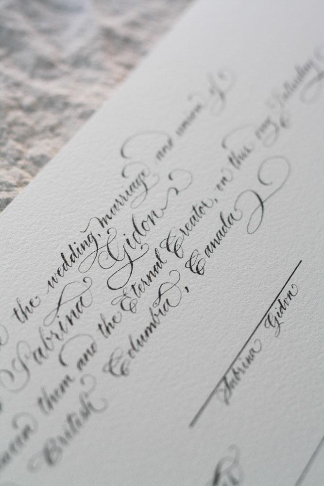 Wedding Certificate Calligraphy