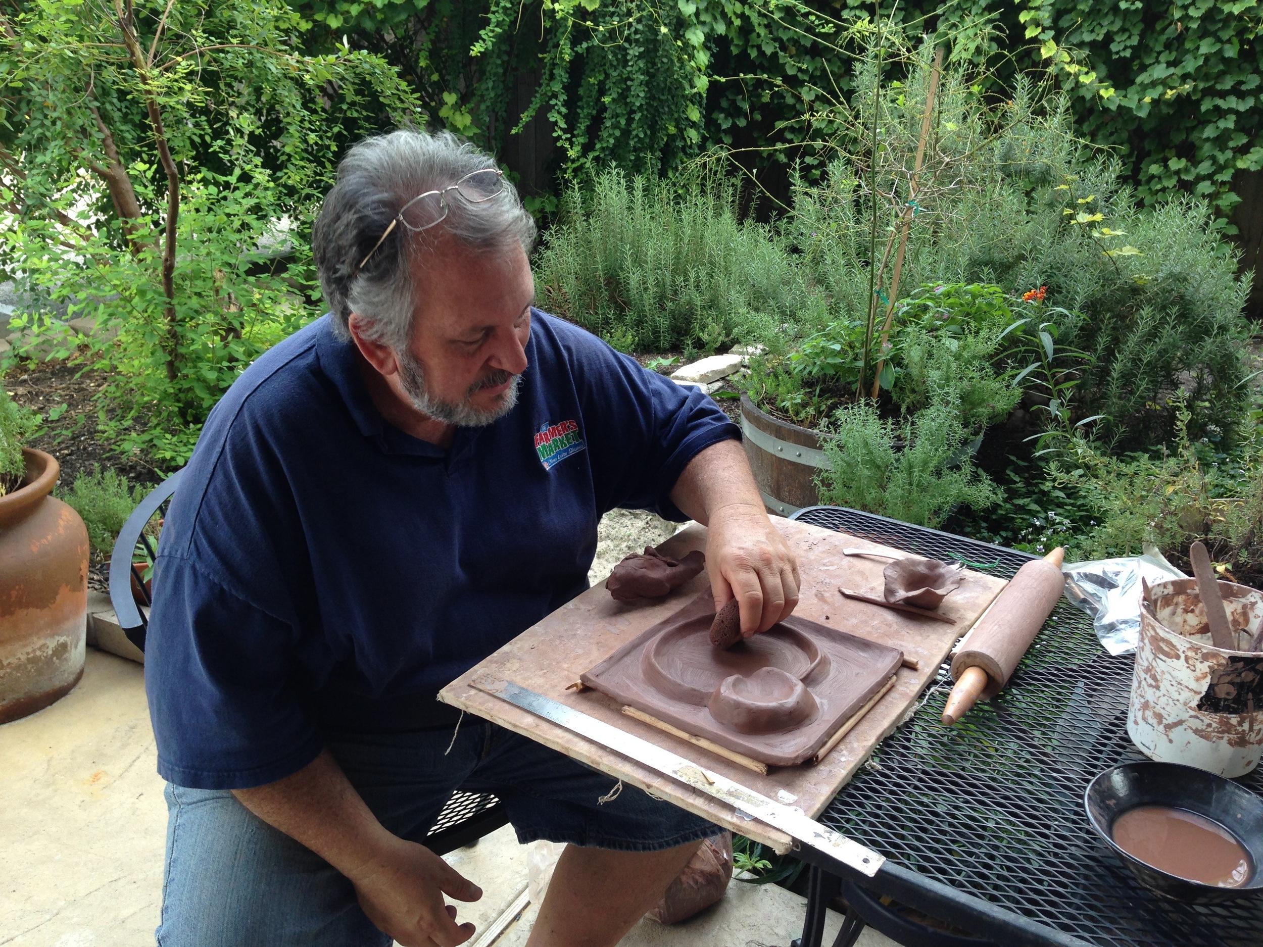 John creating the tide pool plate.