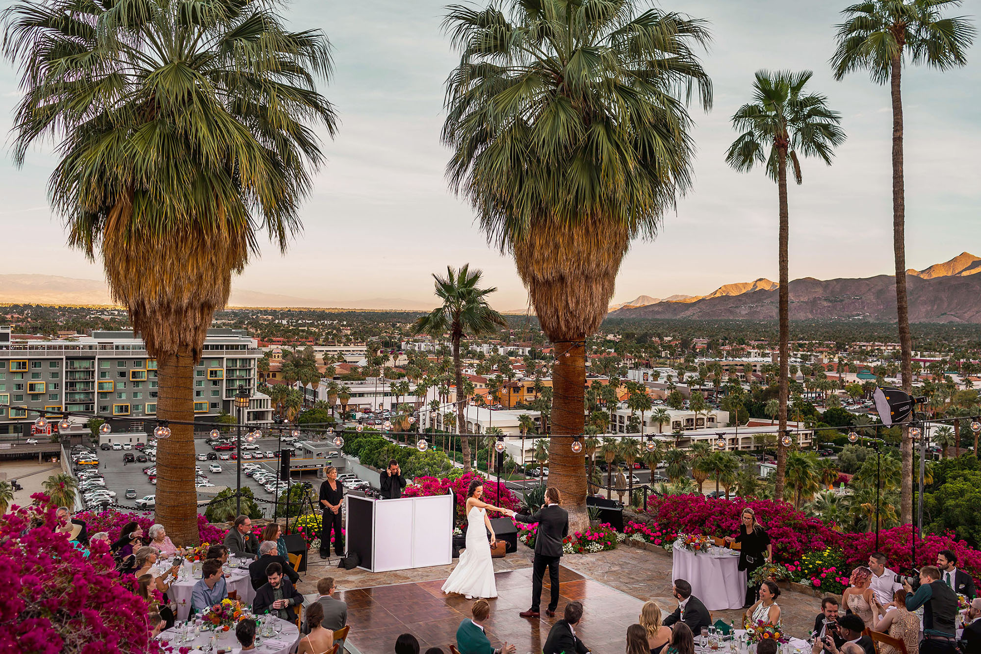 bride and grooms first dance at odonnell house palm springs