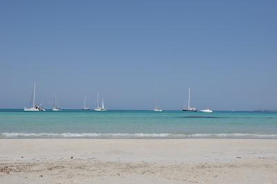 Es Trenc beach, the salt flats were nearby