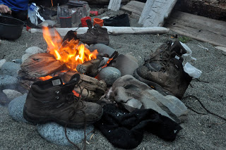 roasting boots and socks around the fire